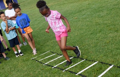 Campbellsville Elementary School third-grader Willow Griffin runs.