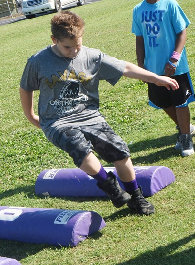 Campbellsville Elementary School fourth-grader Sean Welch runs.
