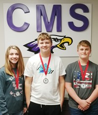 CMS archery team competed on Saturday, Dec. 7, at Taylor County High School and finished in third place. From left, eighth-graders Braelyn Price was second, Hunter Falls was third and Lance Knifley was second.