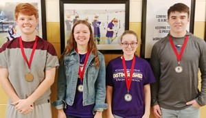 CHS archery team competed on Saturday, Dec. 7, at Taylor County High School and finished in second place. From left, junior Colin Harris was fifth, sophomore MaCayla Falls was third, freshman LeeAnna Darst was second and senior Cole Kidwell was third.
