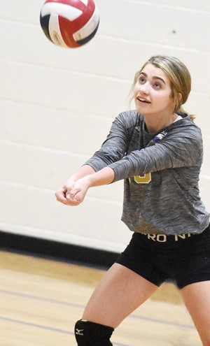 CMS eighth-grader Braelyn Price hits the ball.