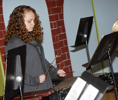 CMS sixth-grader Deanna Reardon plays bells.