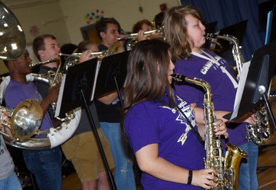 CMS seventh-graders Aaliyah Nunez, at left, and Zachary Akin play saxophone.