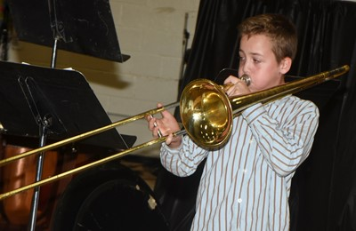 CMS sixth-grader Spencer Bates plays trombone.