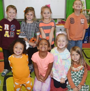 Students in Lisa Wiseman's kindergarten class wear orange for Color Week.