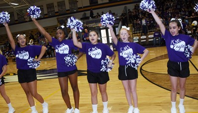 CMS cheerleaders cheer for the Eagles.