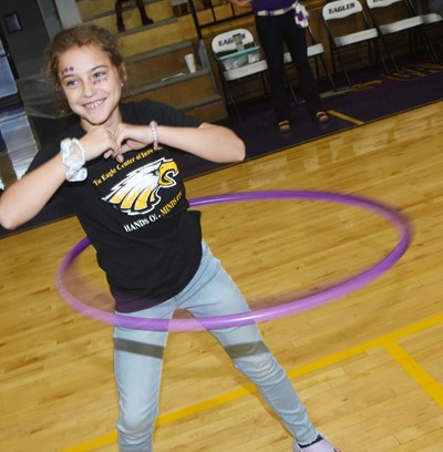 CES fourth-grader Karsyn Smith hula hoops.