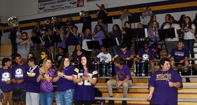 CHS band members play at the pep rally.