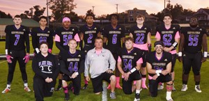CHS senior football players were honored on Friday, Oct. 18, for their hard work and dedication this season. From left, front, are manager Braydon Phillips, Zachary Harper, head coach Dale Estes, Devon Reardon and Luke Richards. Back, Mark Rigsby, Mikael Vaught, Ethan Ford, Lathan Cubit, Malachi Corley, Tyler Gribbins, Cole Kidwell and Taekwon McCoy.