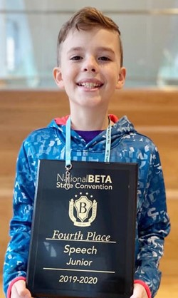 Brayden Judd, a rising seventh-grader, was named national champion in the speech contest. He placed fourth at the state convention, qualifying him to compete at the national level.