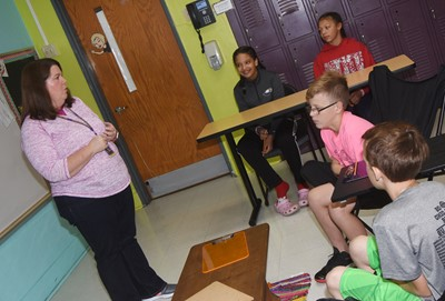 CMS Guidance Counselor Beth Wiedewitsch talks to students about the dangers of bullying.
