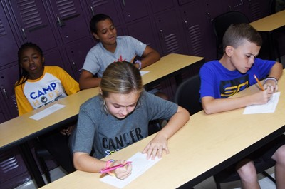 iEagle sixth-graders Kennedy Griffiths, at left, and Brayden Judd complete a quiz about bullying.