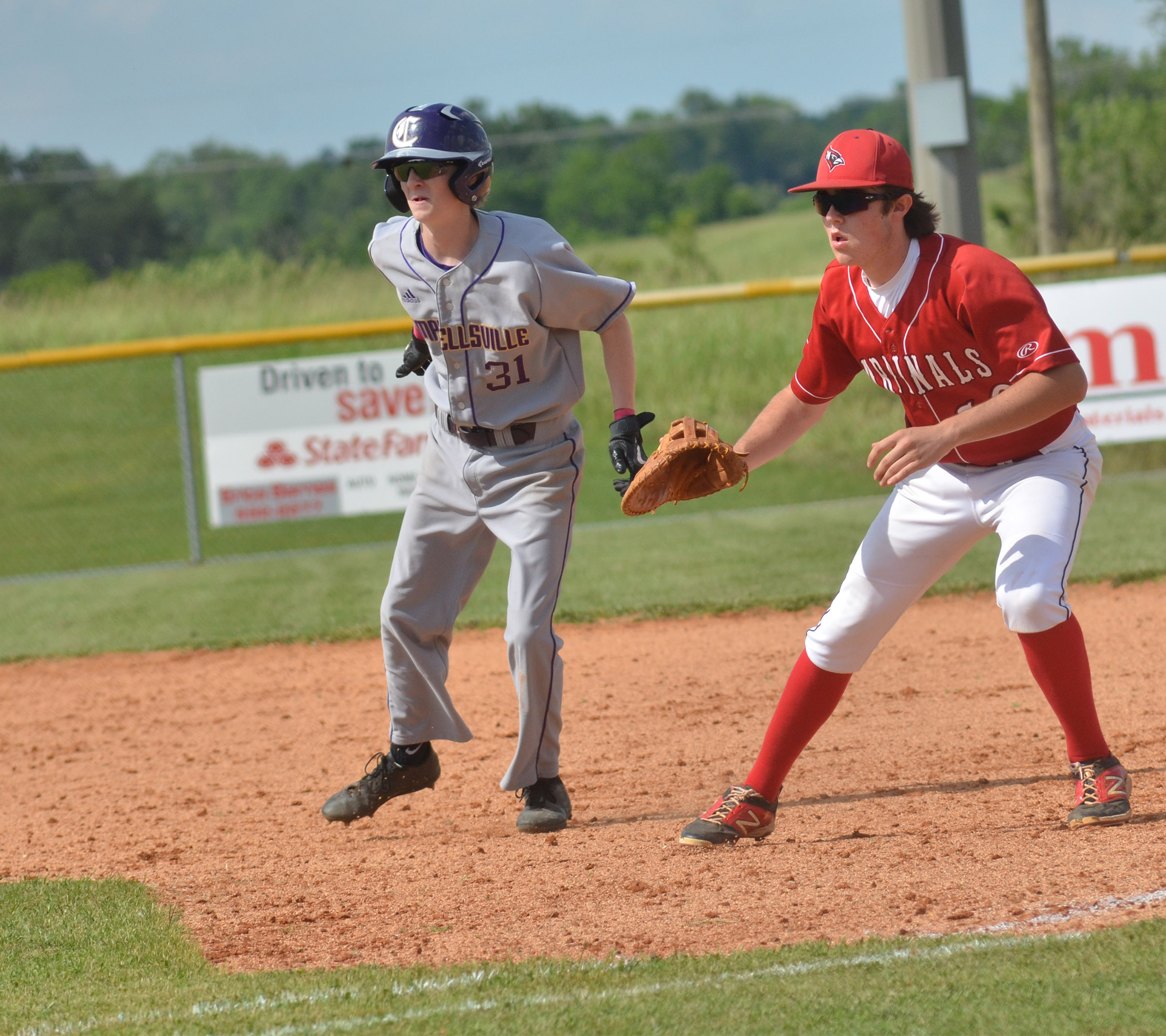 CHS sophomore Jackson Hinton looks to steal second.