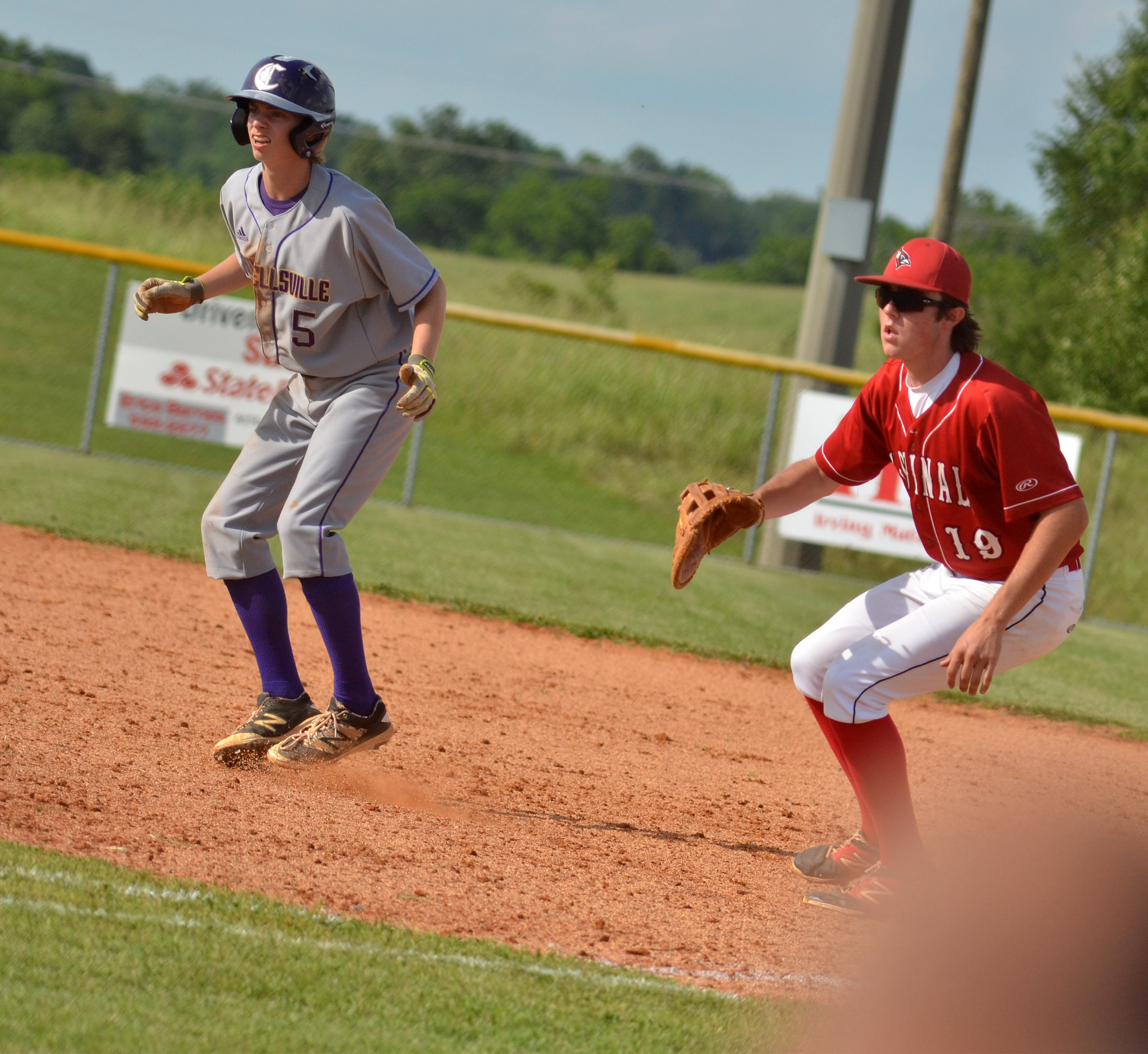Campbellsville Middle School eighth-grader Arren Hash gets a lead toward second.