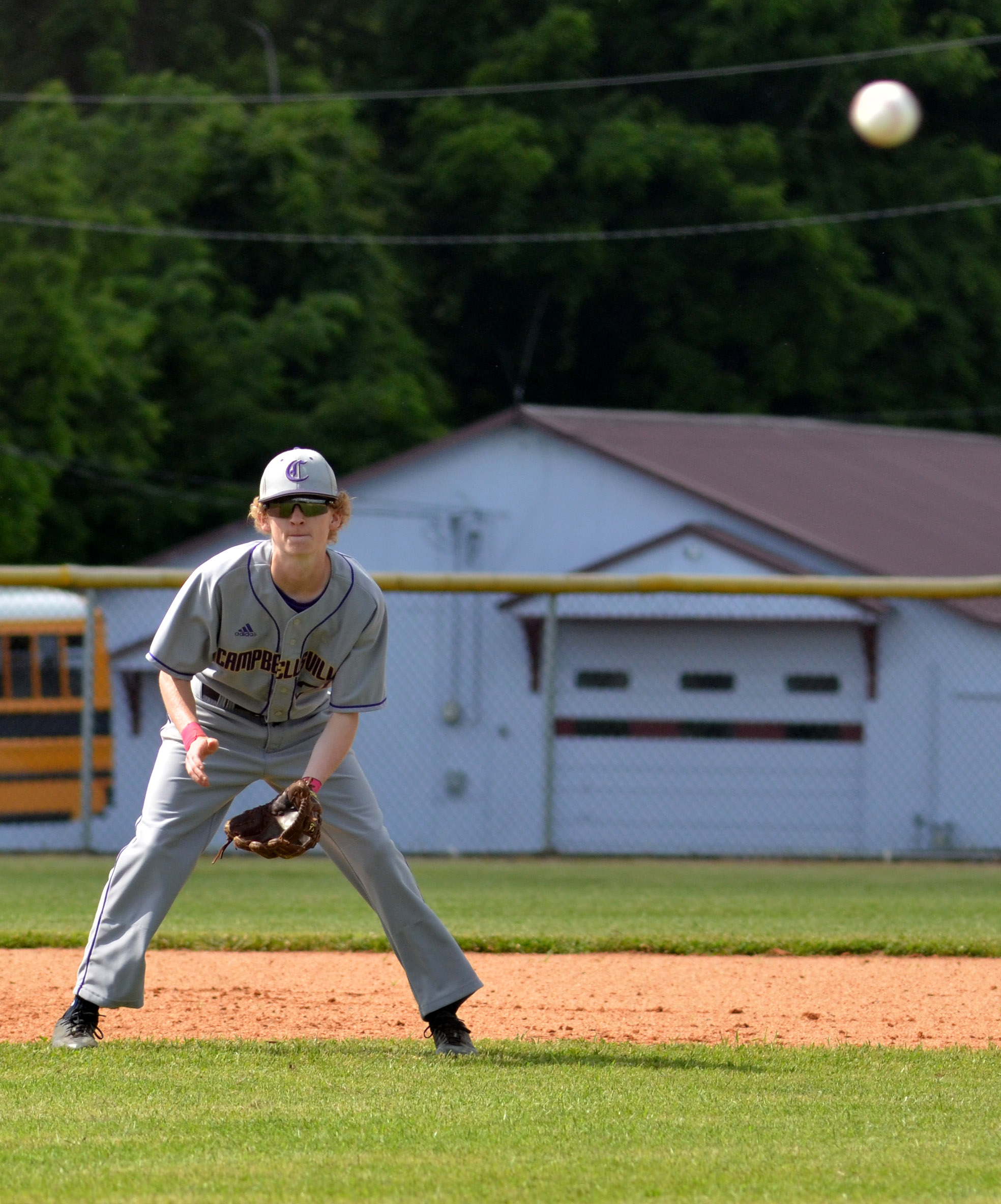 CHS sophomore Jackson Hinton watches the pitch.