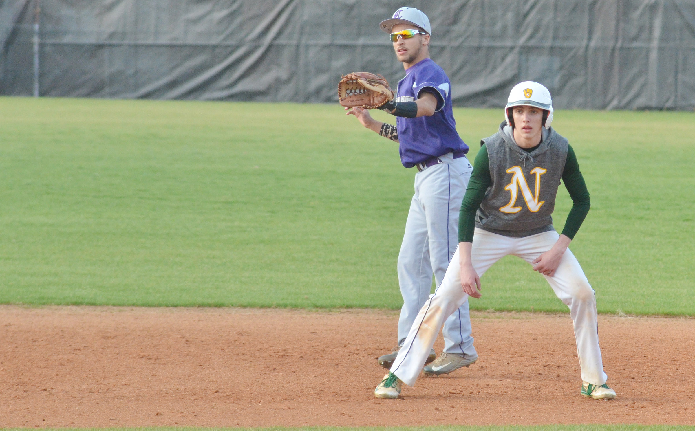 CHS junior Ethan Lay keeps the runner at second.