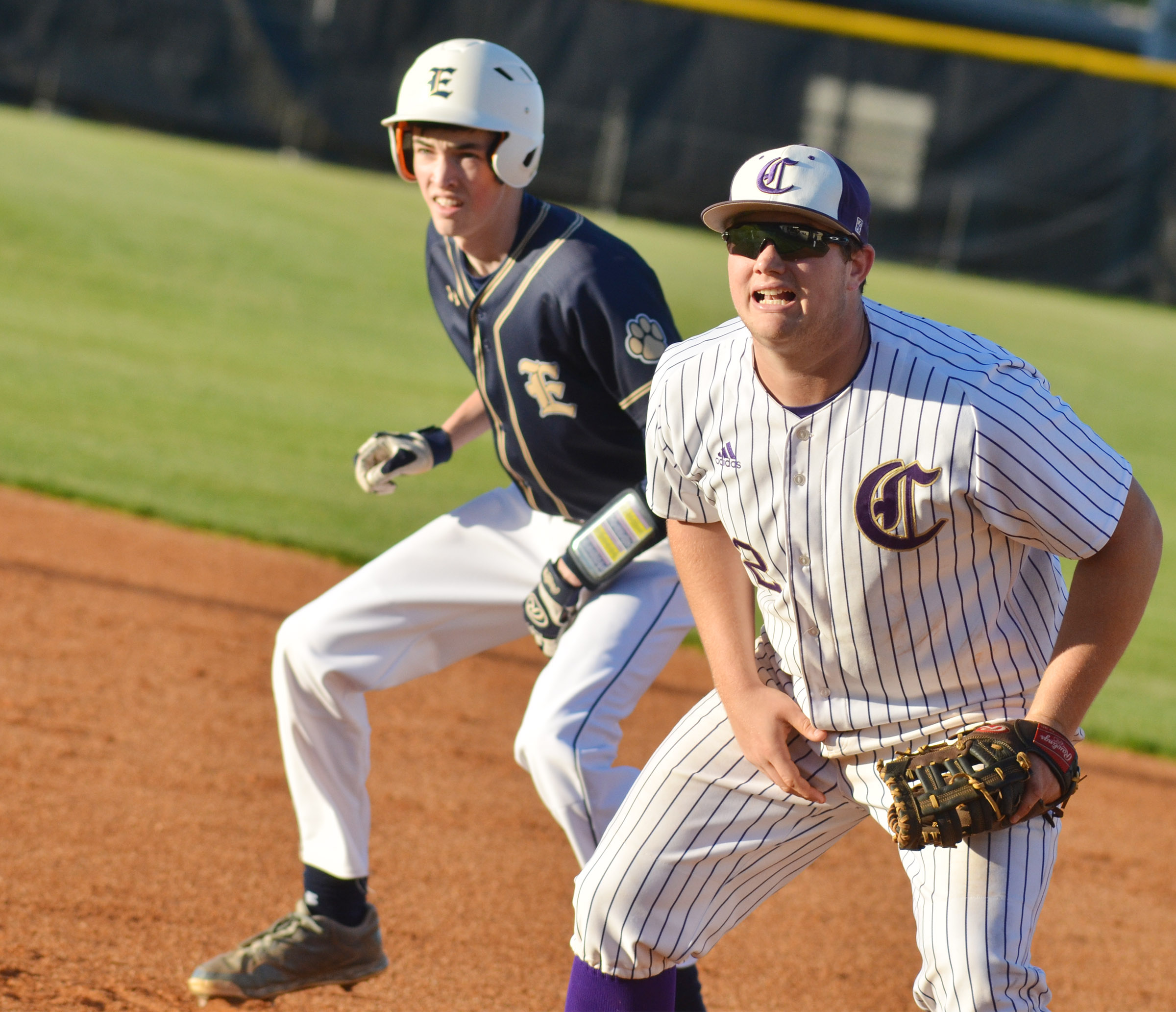 CHS sophomore Lane Bottoms watches the batter.
