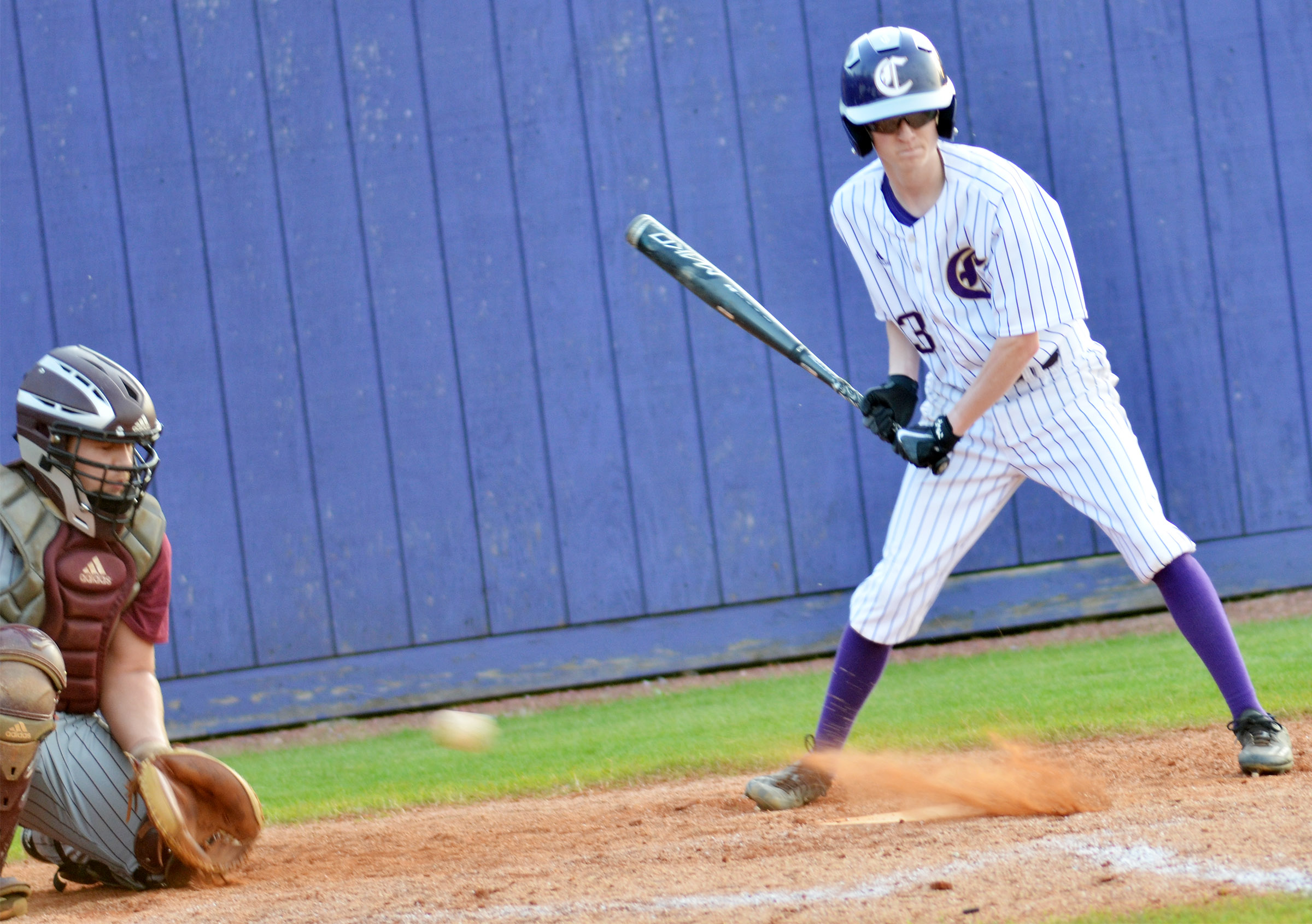 CHS sophomore Jackson Hinton watches the runner on first.