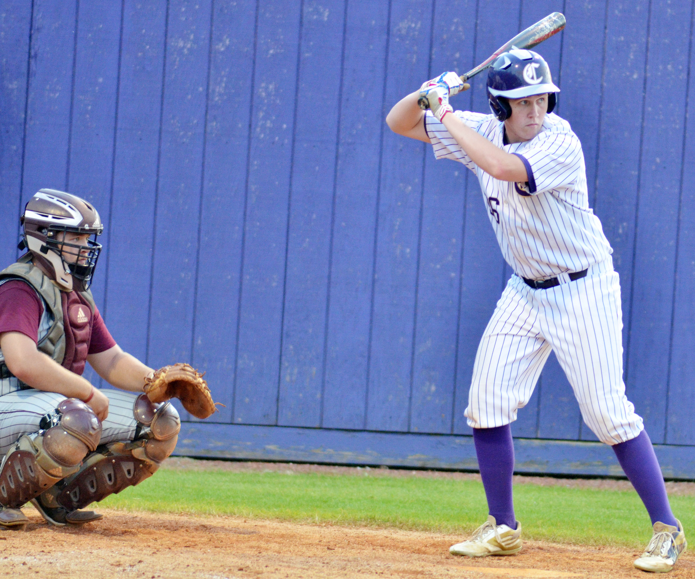 CHS senior Jared Brewster looks to go to third.