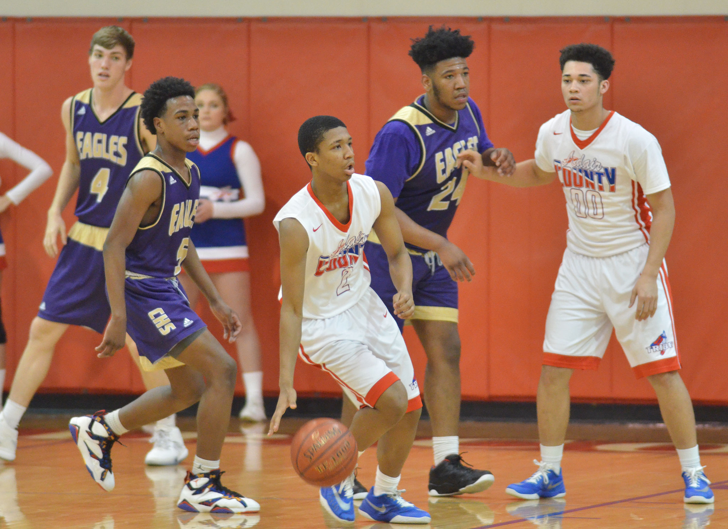 Brothers Malachi Corley, at left, a freshman, and CHS senior Micah Corley play defense.
