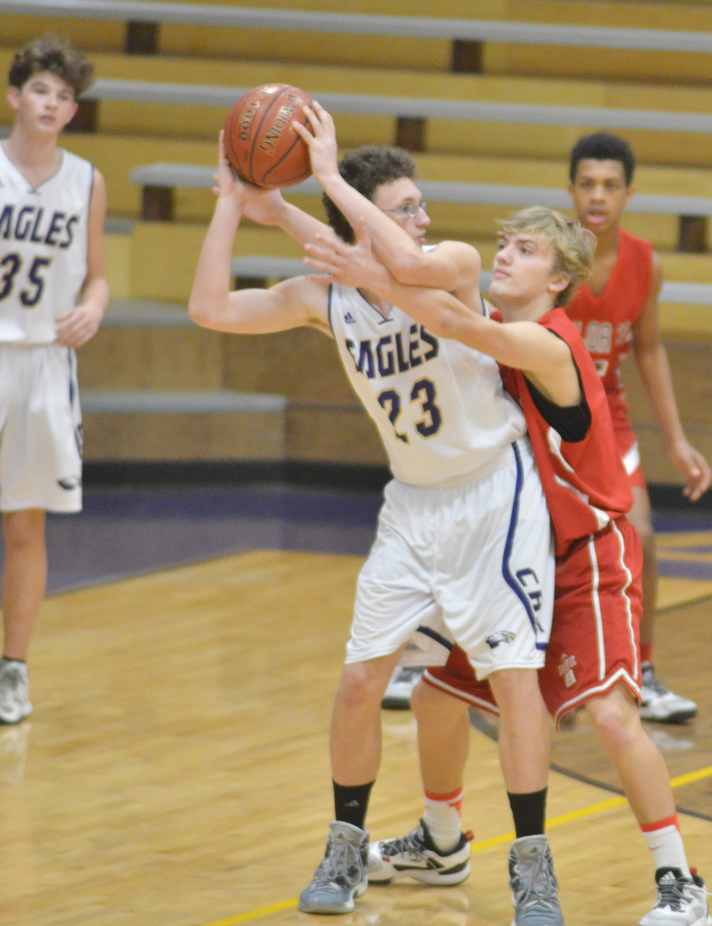 CHS freshman Brennon Wheeler protects the ball.