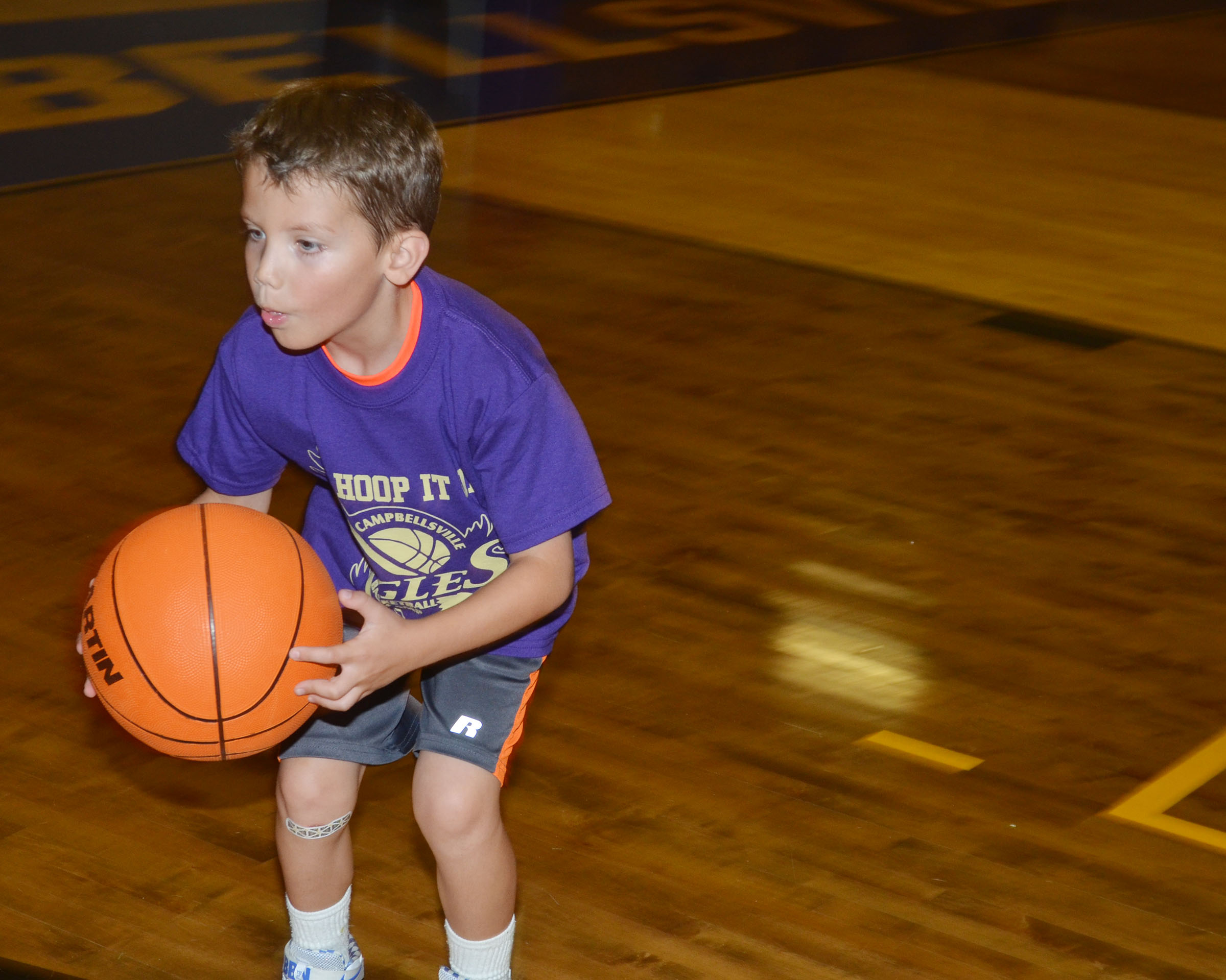 Owen Skaggs practices handling the ball.