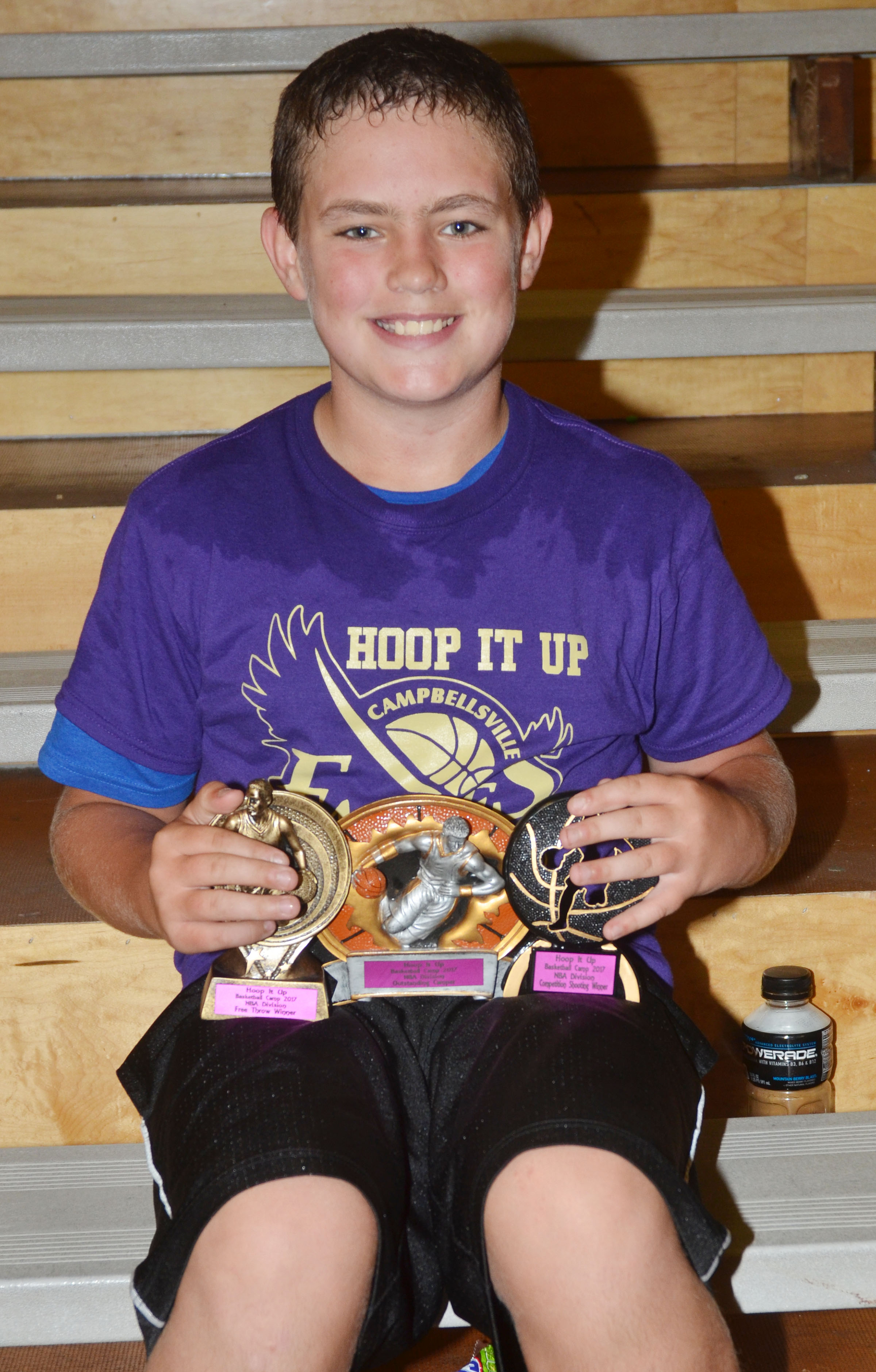 Landon Colvin won camp awards in the NBA division for free throws, competition shooting and outstanding camper.