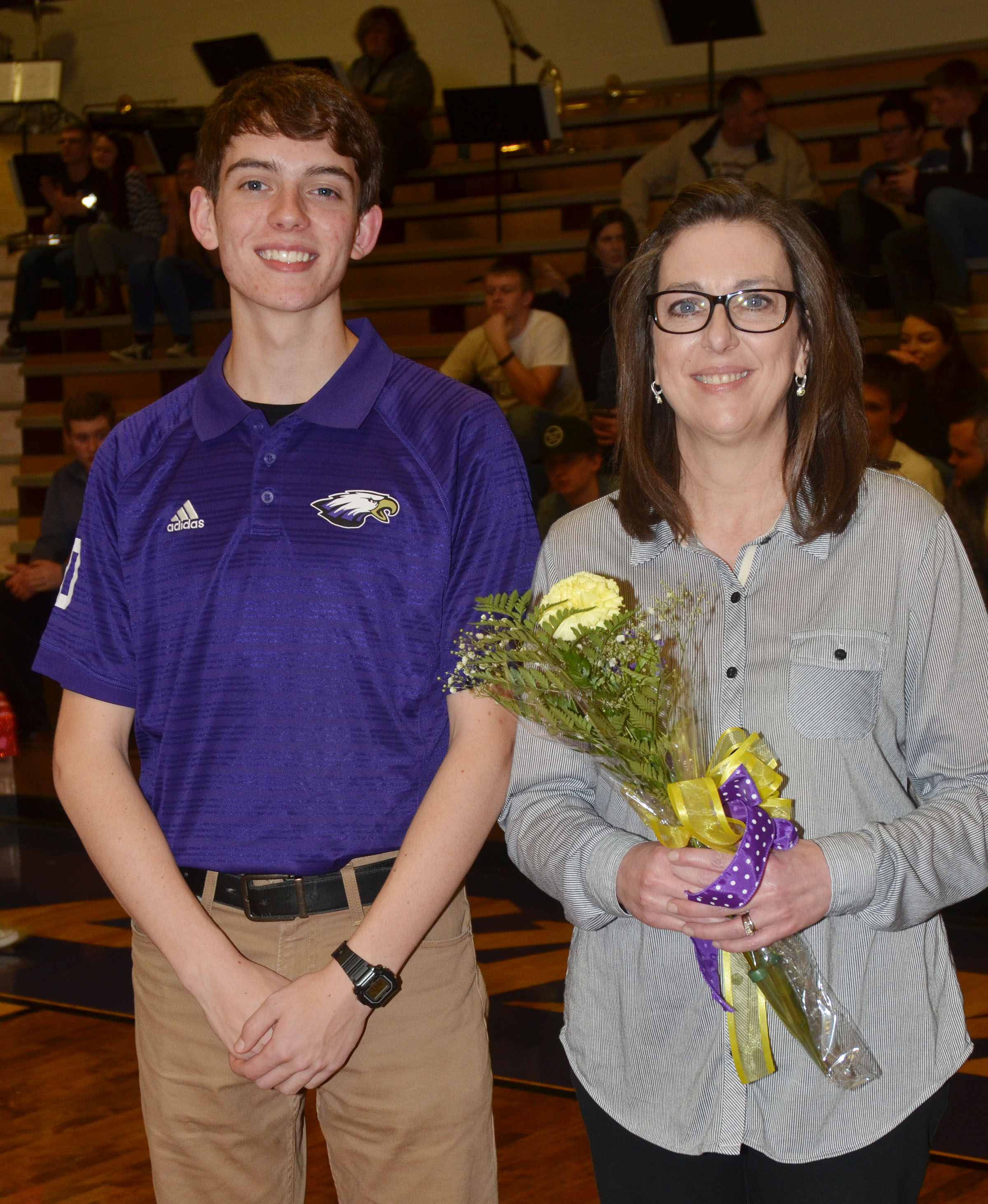 CHS senior bowling team member Murphy Lamb is honored. He is pictured with his mother, Tammy Harris.