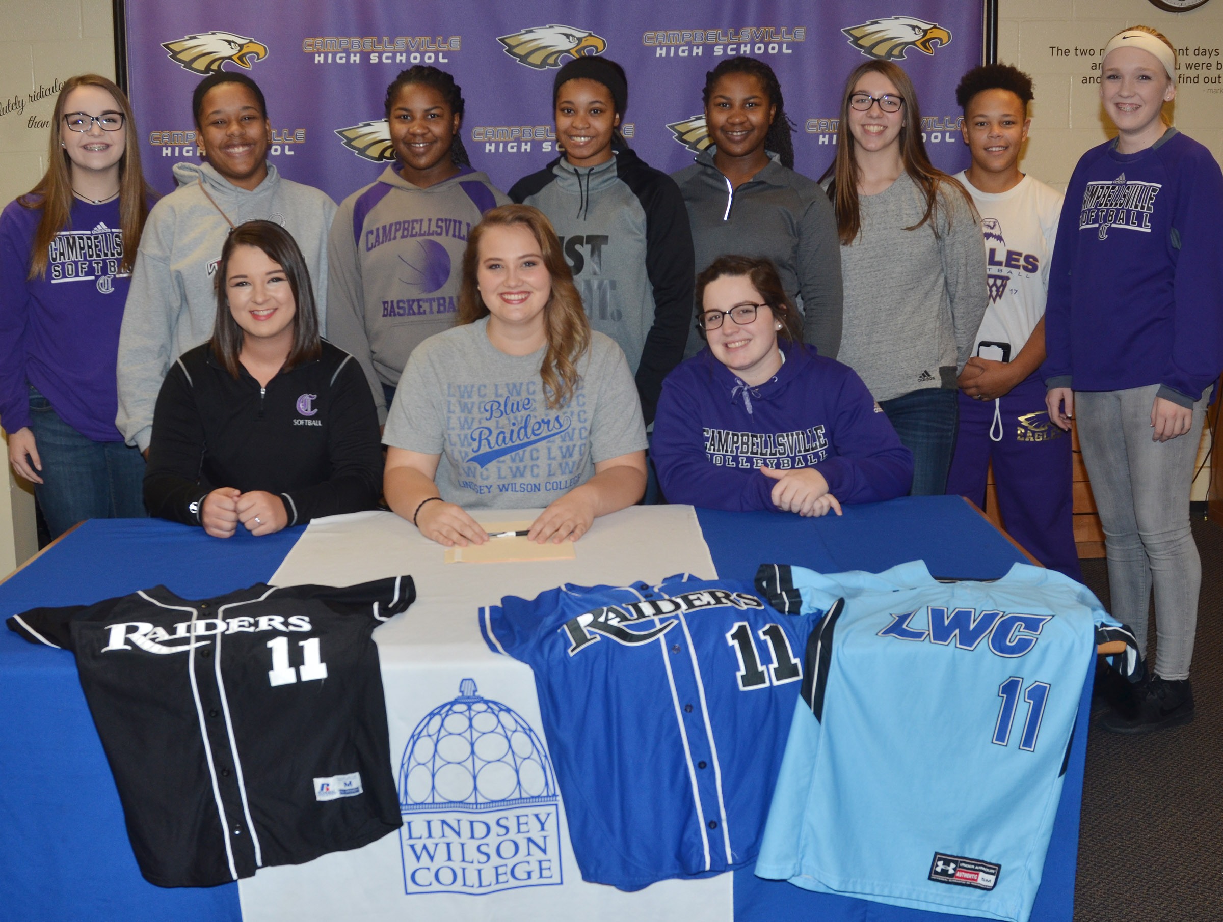 CHS senior Brenna Wethington has signed to continue her softball career at Lindsey Wilson College. She is pictured with her CHS softball teammates. Front, from left, senior Kailey Morris, Wethington and junior Caitlin Bright. Back, Campbellsville Middle School eighth-grader Kenzi Forbis, juniors Kayla Young, Kiyah Barnett, Vonnea Smith and Nena Barnett, CMS eighth-grader Abi Wiedewitsch, sophomore Dee Simpson and CMS eighth-grader Catlyn Clausen.