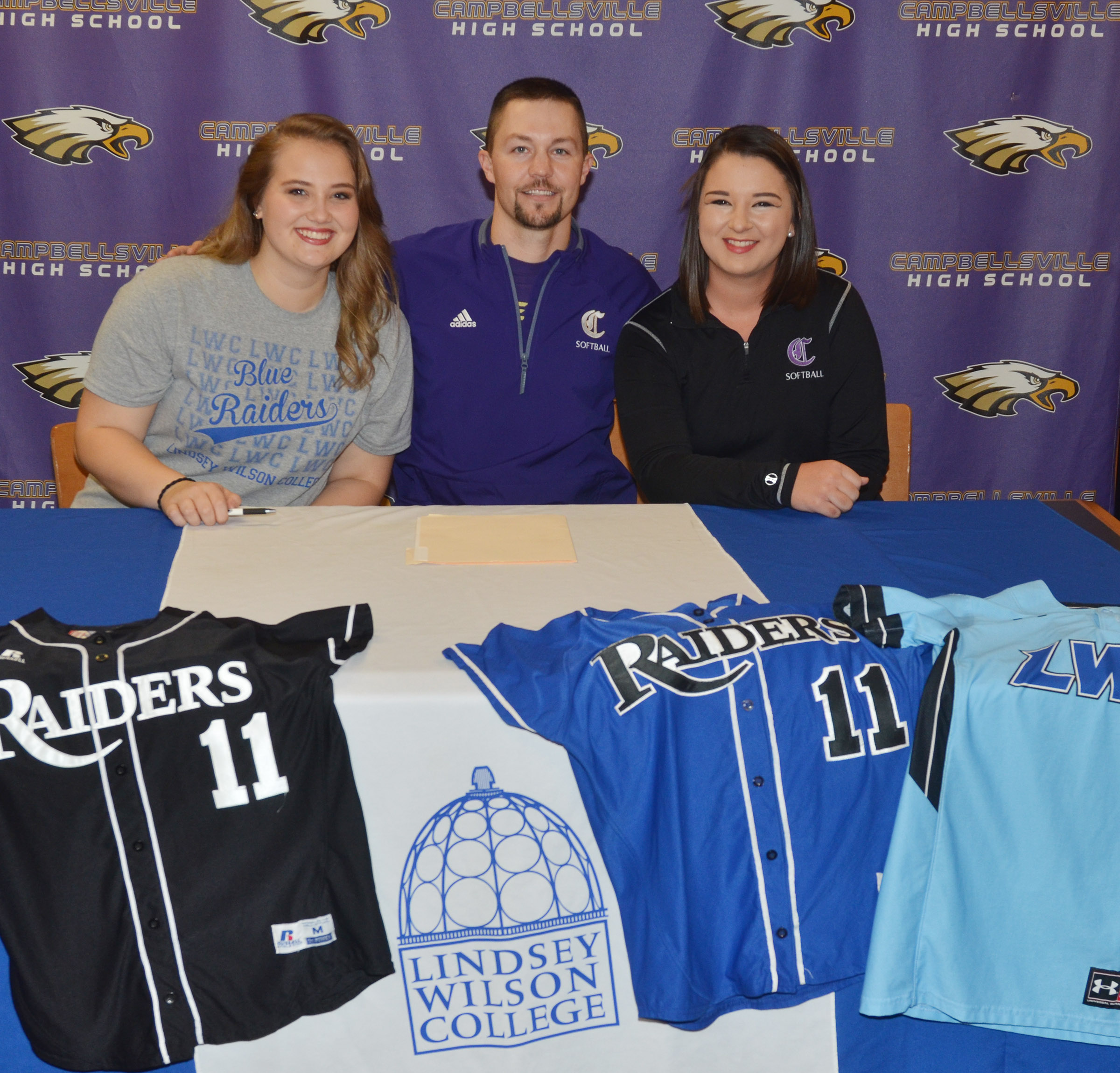 CHS senior Brenna Wethington has signed to continue her softball career at Lindsey Wilson College. She is pictured with CHS head softball coach Weston Jones and senior teammate Kailey Morris.