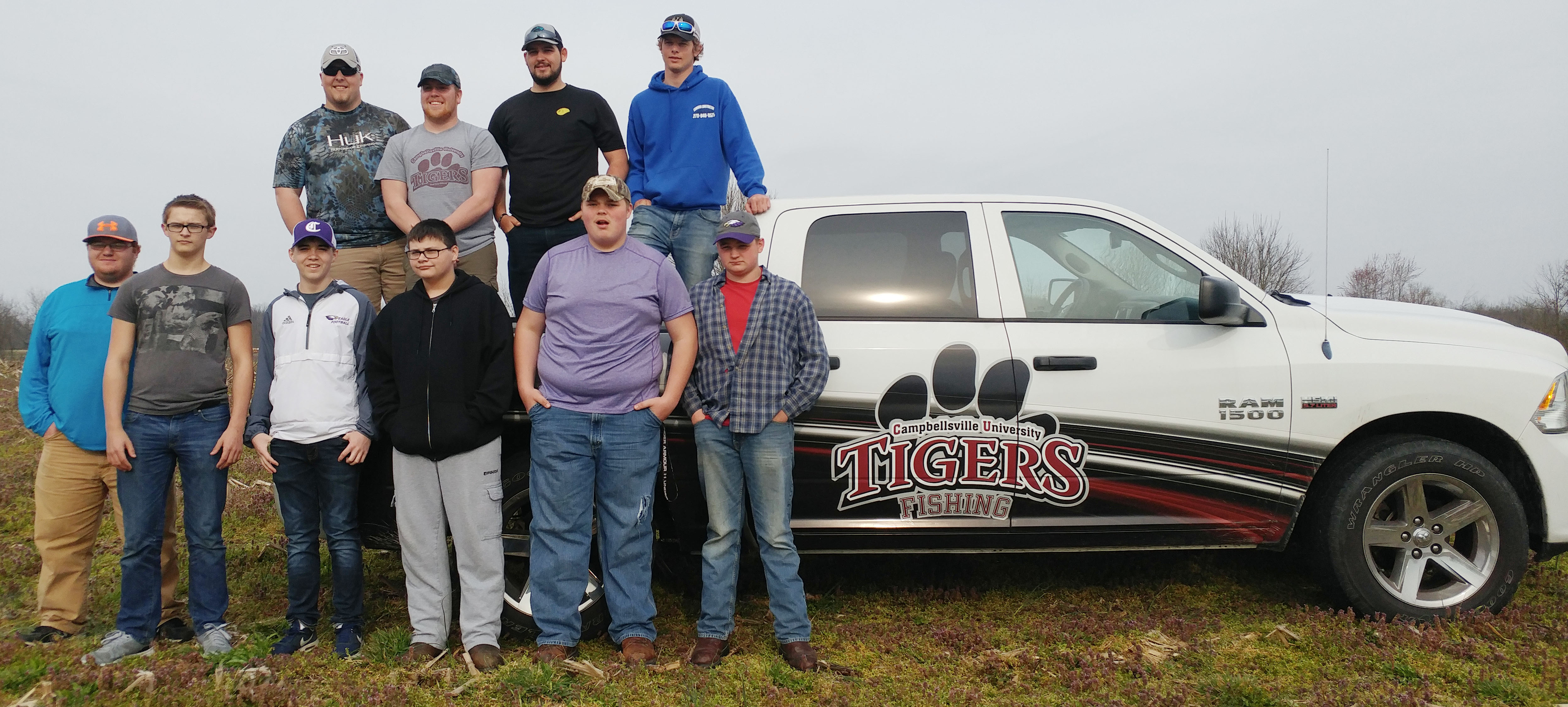 CHS fishing team members recently met with the Campbellsville University fishing team for some training. From left, front, are CU senior Travis Hunt, CHS freshmen Dalton Brown, Cole Kidwell and Gabriel Gutierrez and juniors Tosye Cox and Caleb Hughes. Back, CU junior Dakota Cantrell, CU freshman Trevor Sagracy, CU sophomore Adam Carman and CU freshman Grant Adams, who graduated from CHS in May 2015.
