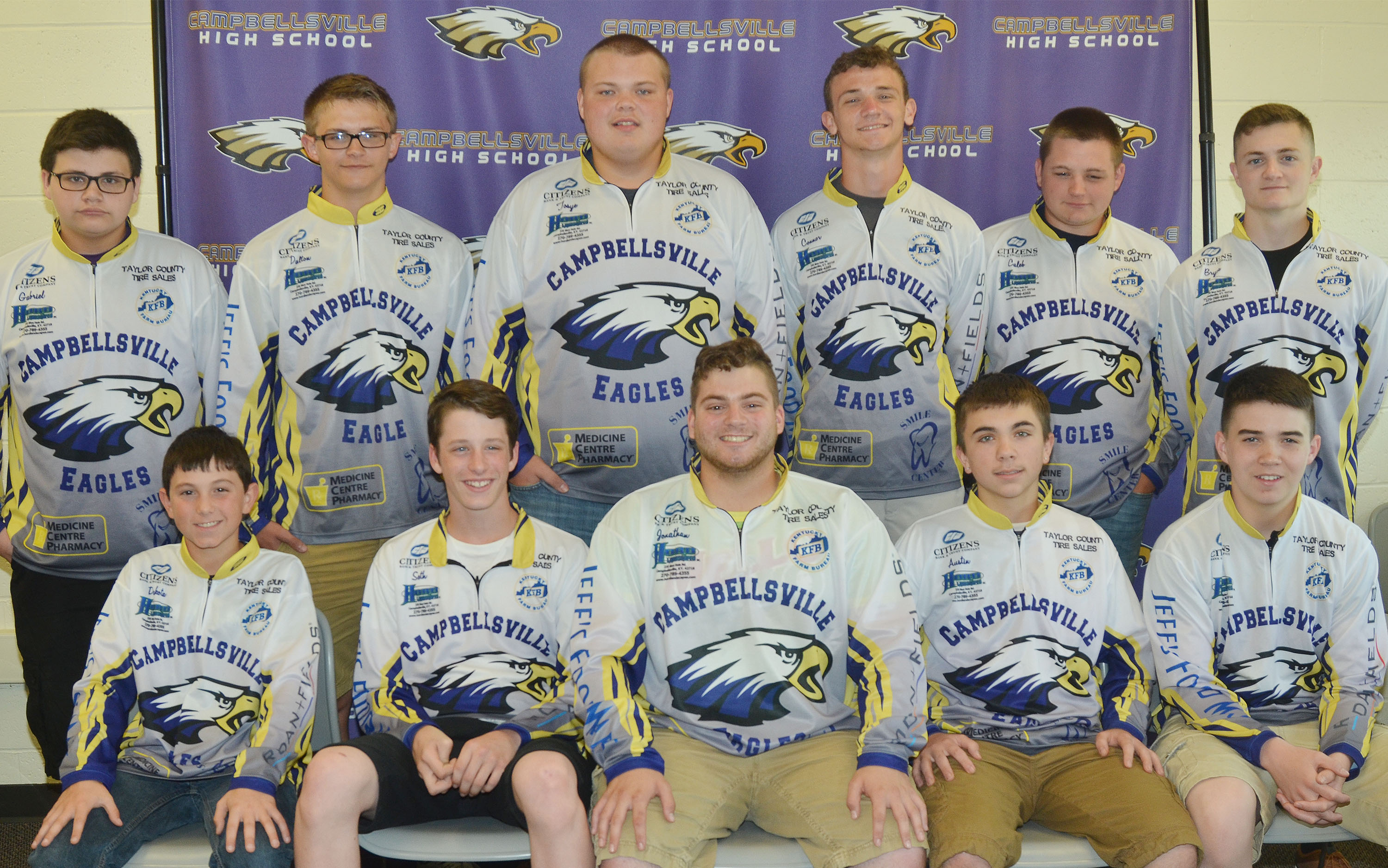 The Campbellsville High School fishing team for the 2016-2017 school year is, from left, front, Campbellsville Middle School seventh-graders Dakota Harris and Seth Hash, CHS senior Jon Tanner Coppage, junior Austin Carter and freshman Cole Kidwell. Back, freshmen Gabriel Gutierrez and Dalton Brown and juniors Tosye Cox, Connor Wilson, Caleb Hughes and Bryce Richardson.