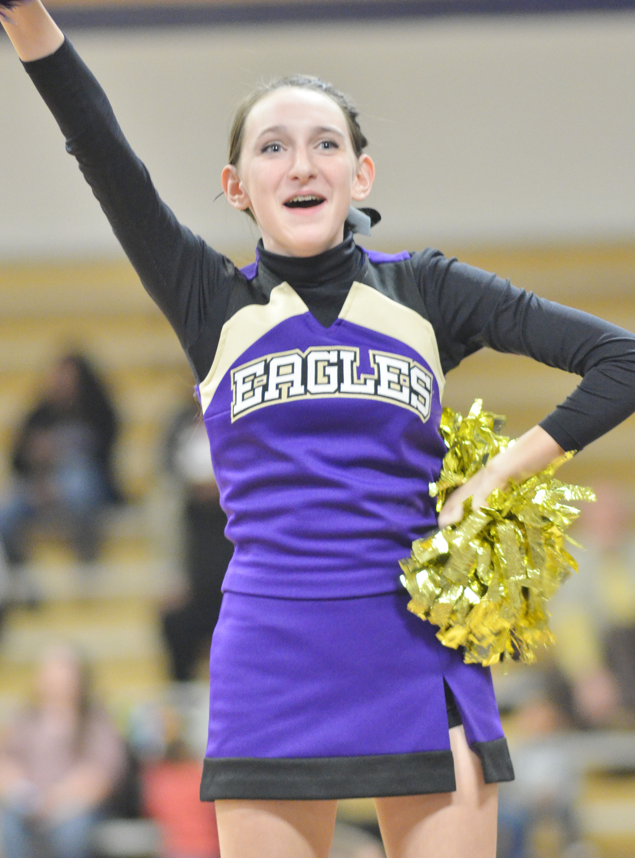 CHS freshman Zoe McAninch cheers for the Eagles.