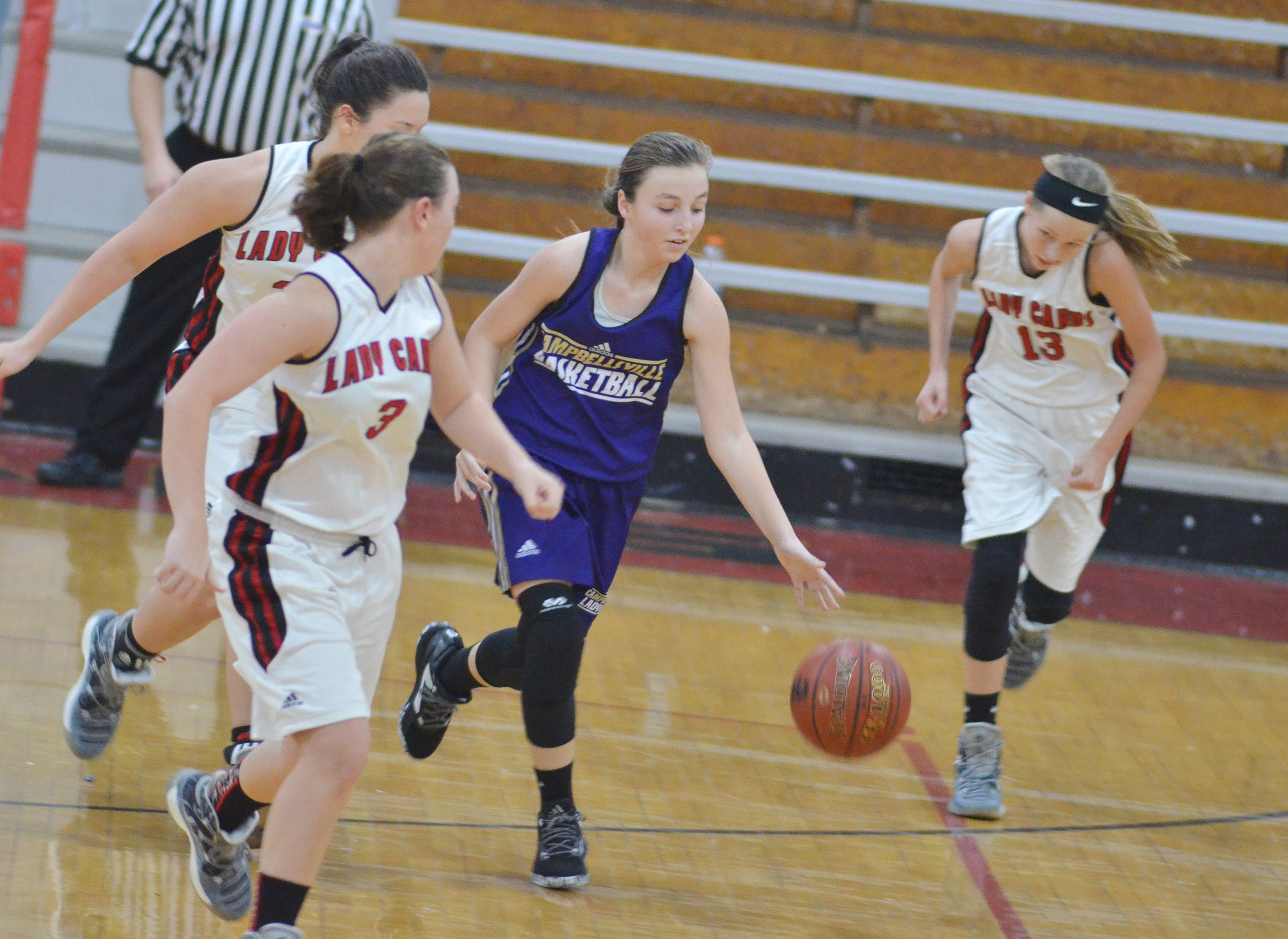 Campbellsville Middle School seventh-grader Lainey Watson dribbles.
