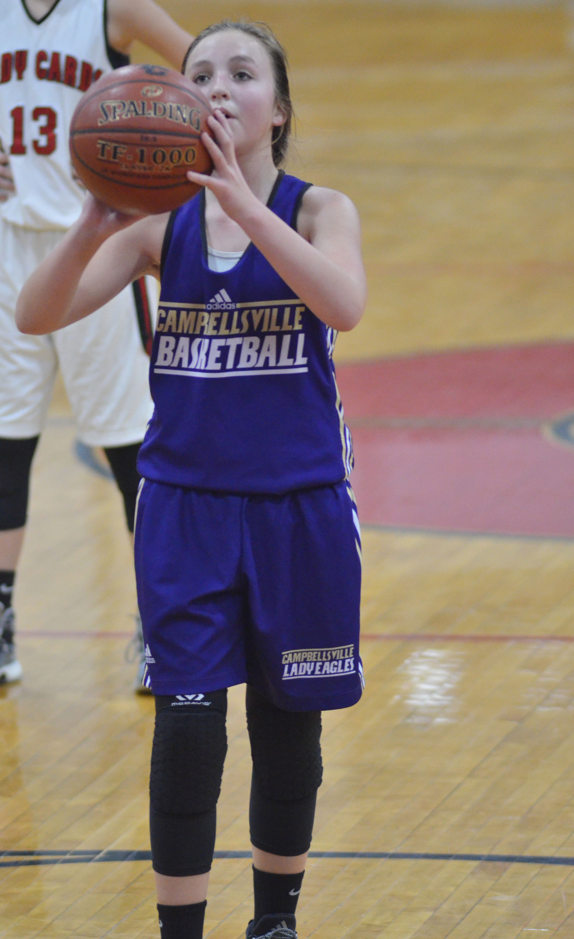 Campbellsville Middle School seventh-grader Lainey Watson shoots a free throw.