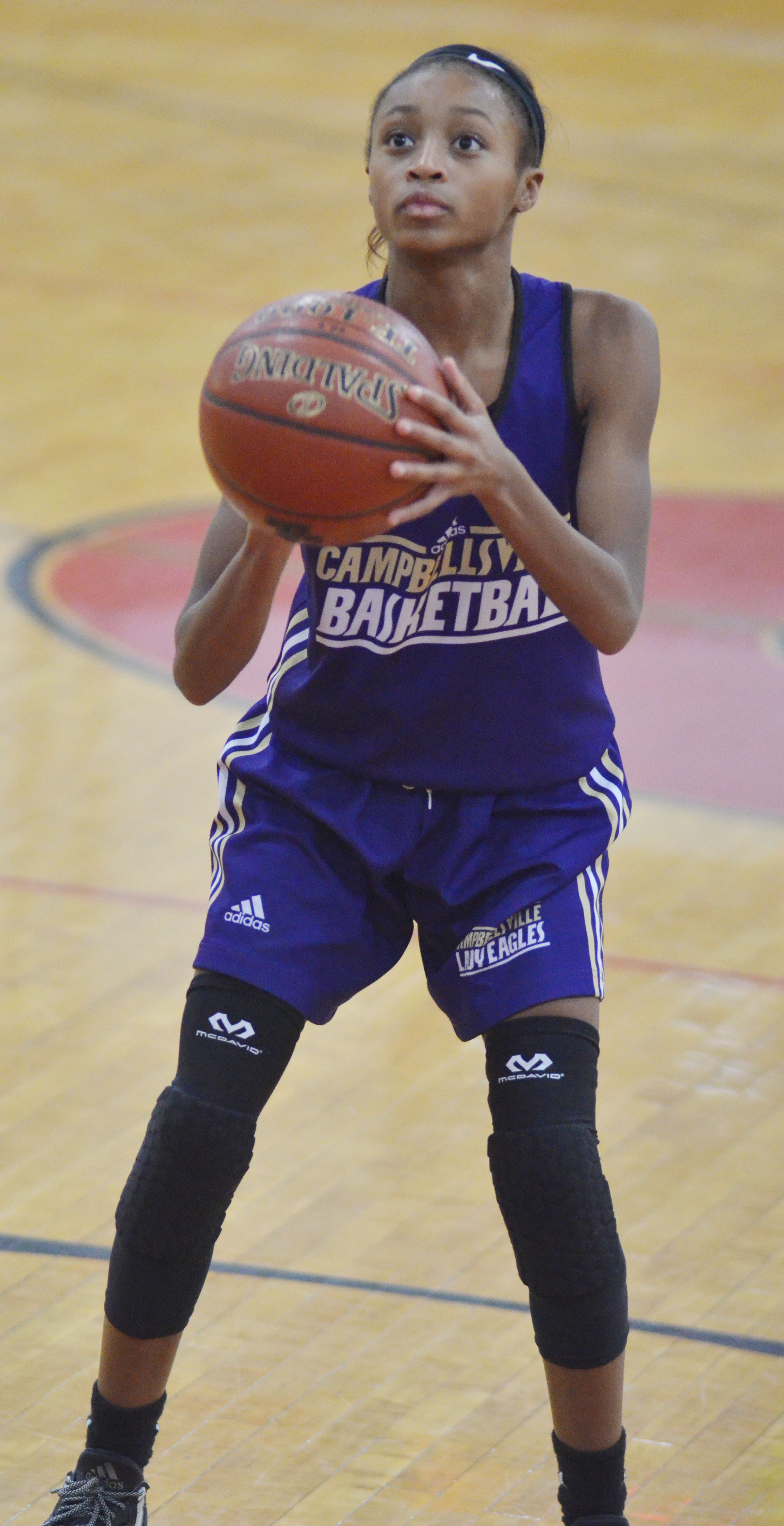 Campbellsville Middle School seventh-grader Bri Gowdy shoots.