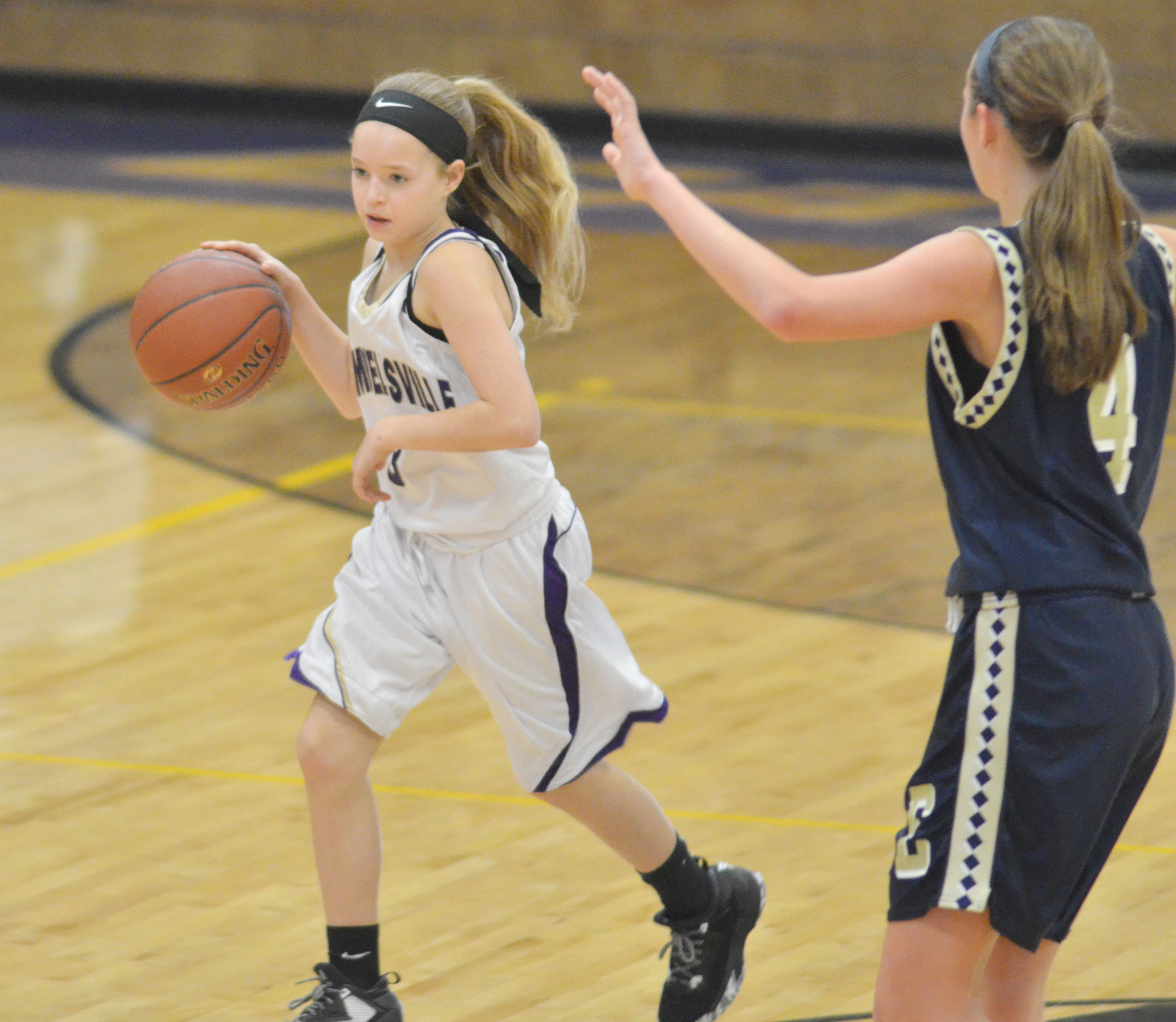 Campbellsville Middle School seventh-grader Rylee Petett sets up a play.
