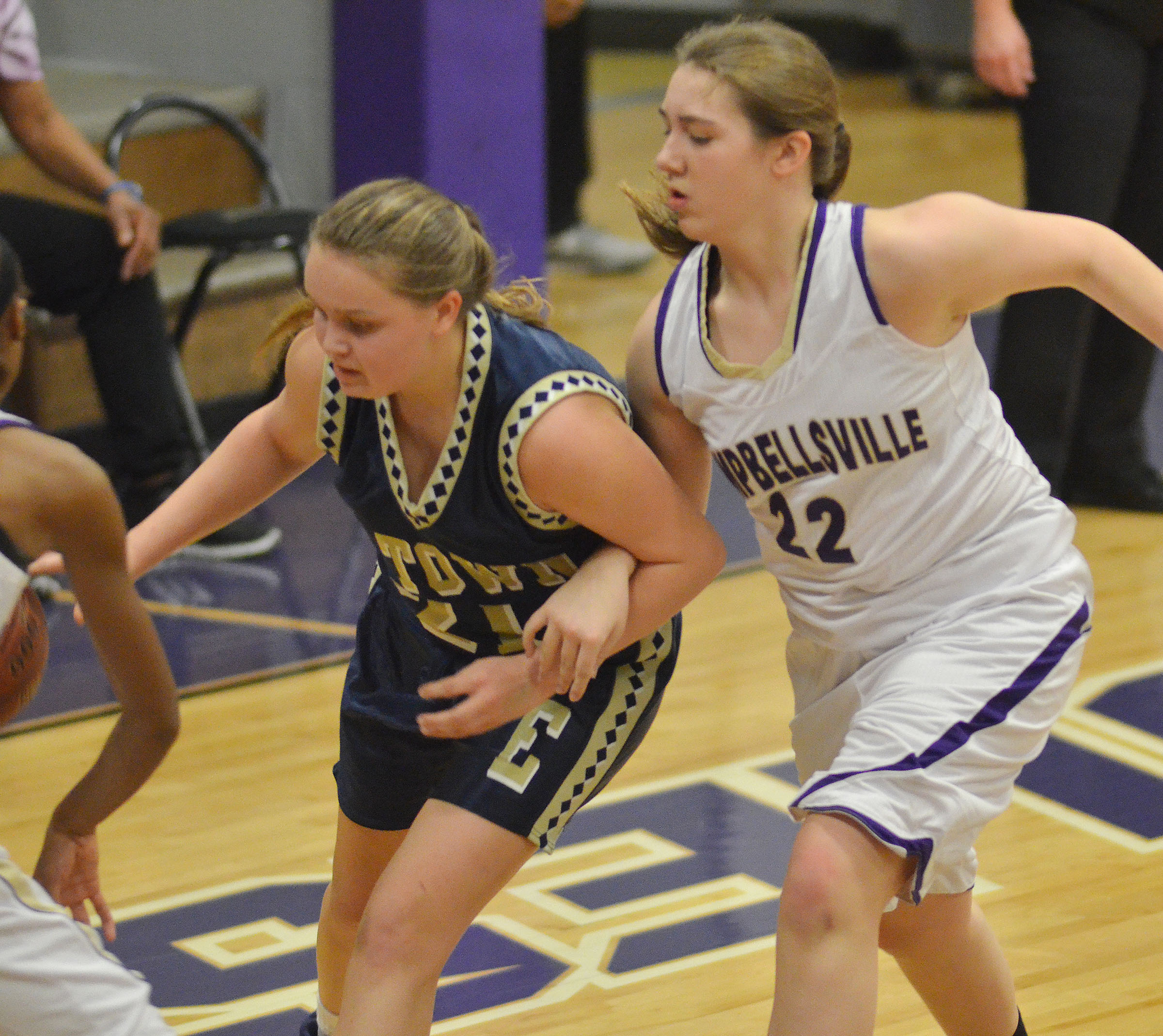 Campbellsville Middle School eighth-grader Abi Wiedewitsch plays defense.