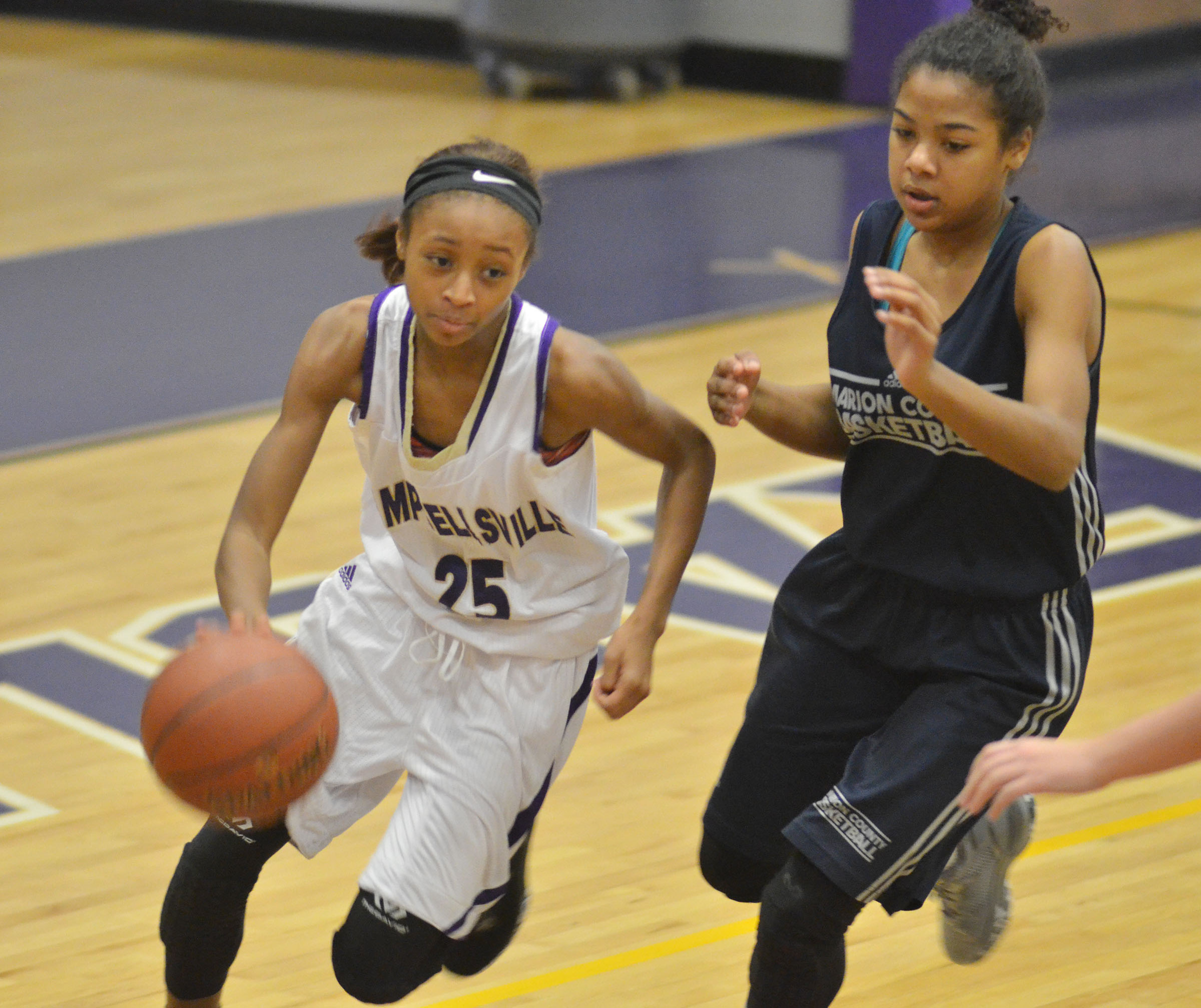 Campbellsville Middle School seventh-grader Bri Gowdy drives the ball.