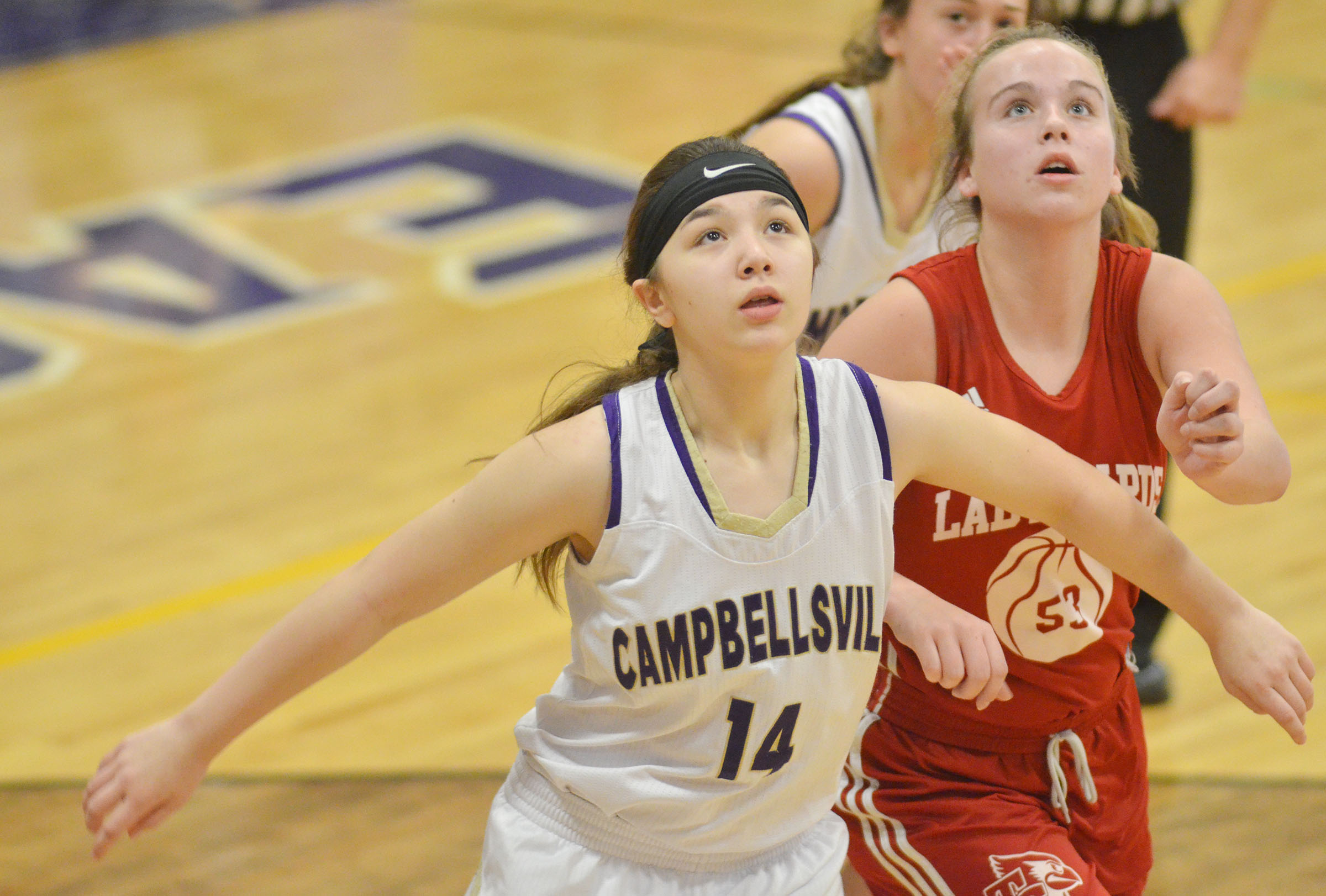 Campbellsville Middle School sixth-grader Olivia Fields plays defense.