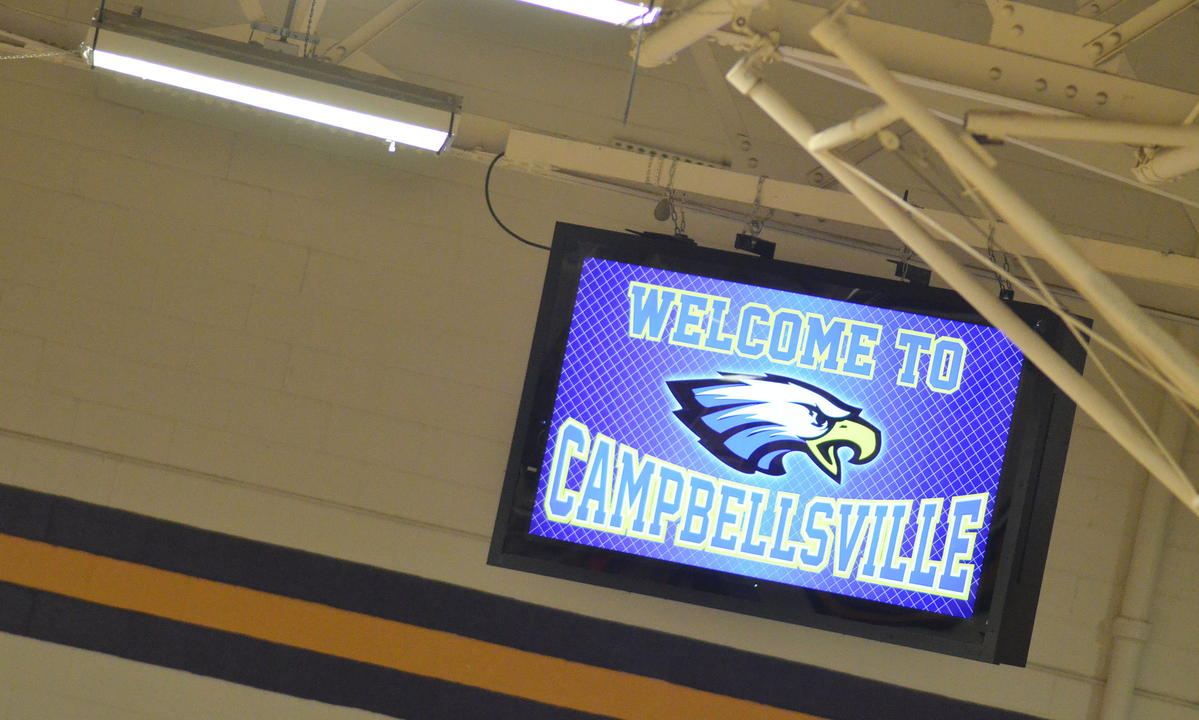 Campbellsville High School gymnasium now features two large projection screens to display photos, videos and much more.