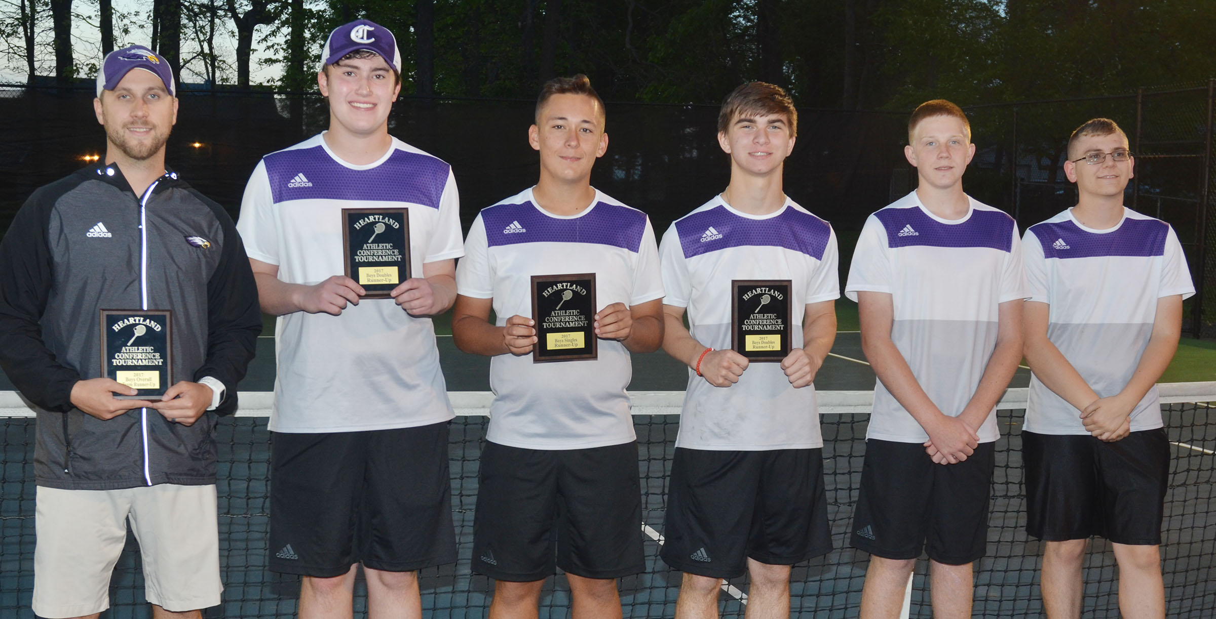 CHS boys' tennis team is this year's Heartland Conference runners-up. From left are coach Tyler Hardy, senior Zack Settle, juniors Cody Davis and Cass Kidwell, freshman Patrick Walker and sophomore Brandon Greer. Settle and Kidwell were also doubles runners-up and Davis was singles runner-up. Absent from the photo is junior Jackson Hunt.
