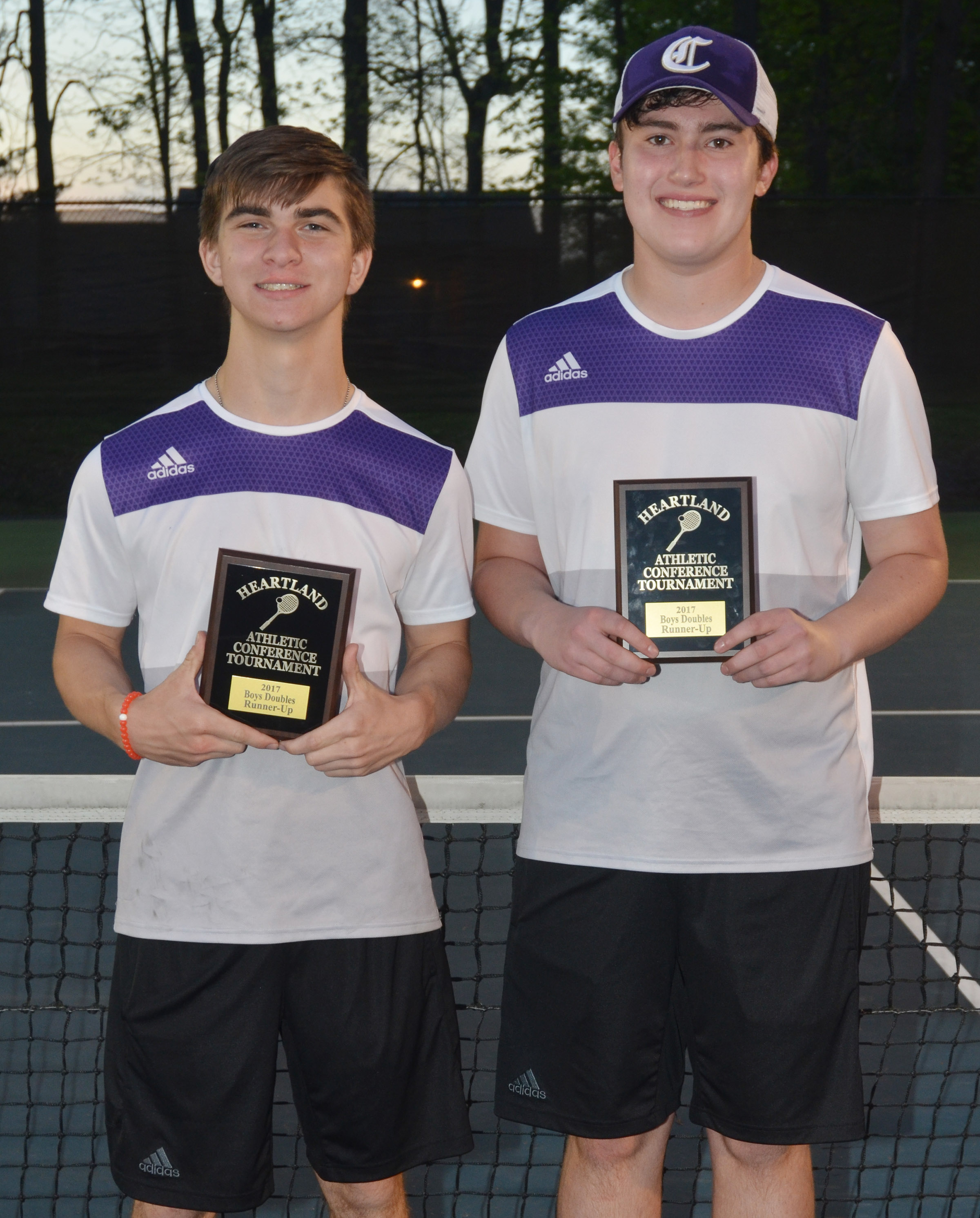 CHS senior Zack Settle, at right, and junior Cass Kidwell were this year's Heartland Conference doubles runners-up.