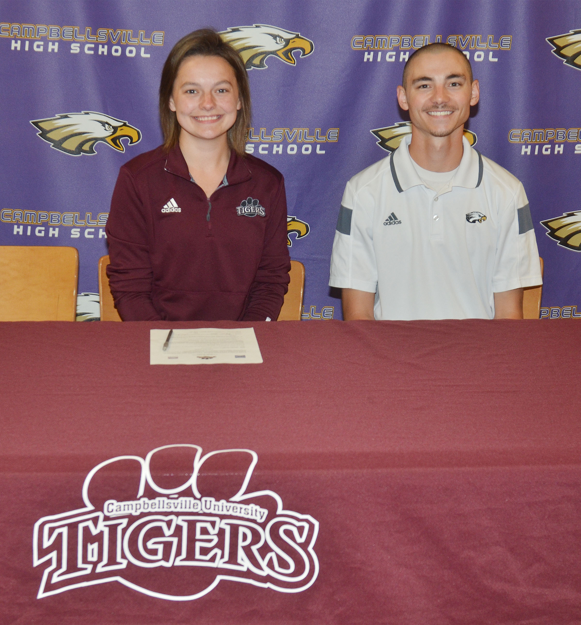 Campbellsville High School senior Kyrsten Hill will continue her academic and tennis career at Campbellsville University this fall. She recently signed her letter of intent in a special ceremony with her family, friends, teammates and coaches. Hill is pictured with CHS tennis coach Bradley Harris.