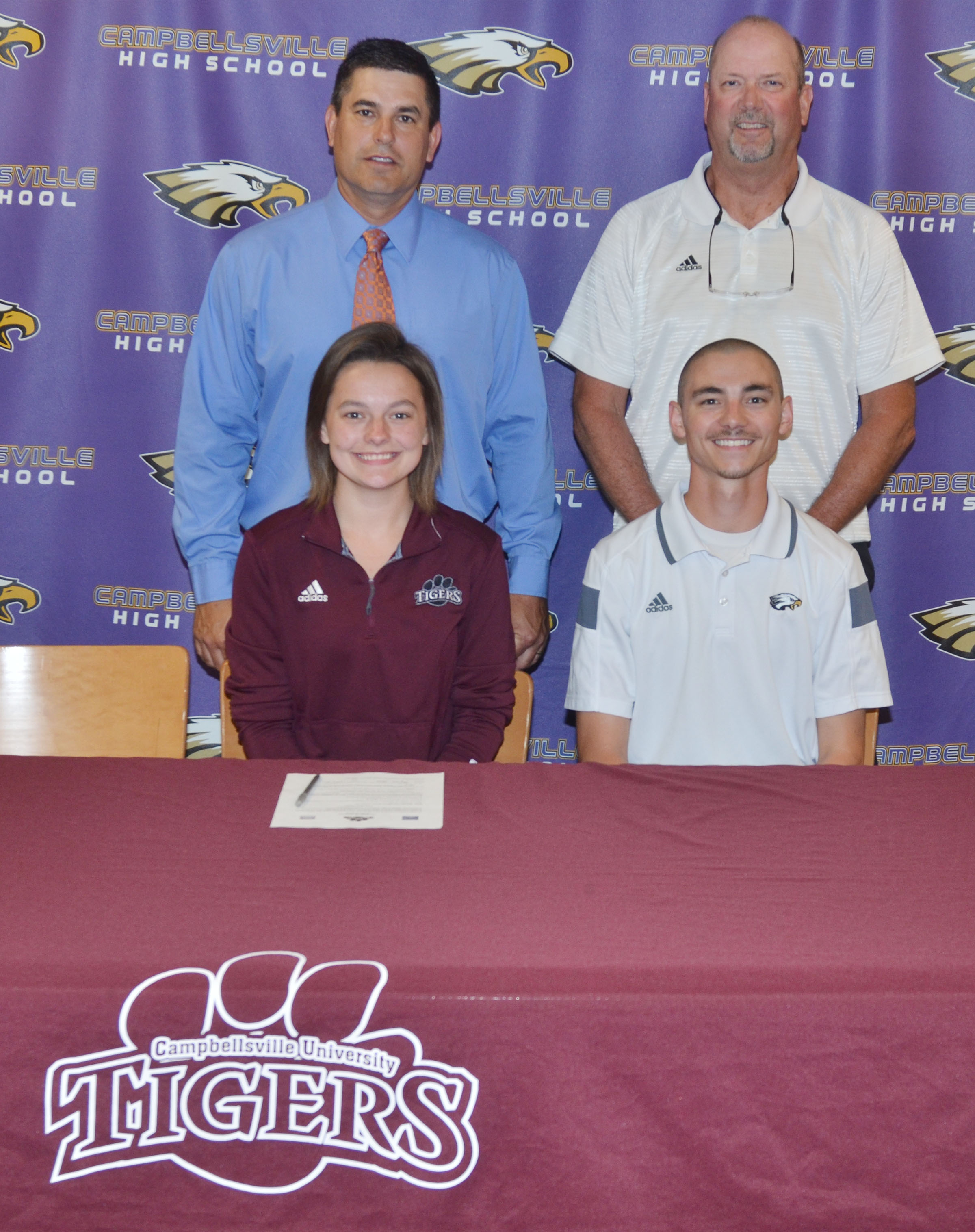 Campbellsville High School senior Kyrsten Hill will continue her academic and tennis career at Campbellsville University this fall. She recently signed her letter of intent in a special ceremony with her family, friends, teammates and coaches. Hill is pictured with CHS tennis coach Bradley Harris. Back, CHS Principal Kirby Smith, at left, and CHS athletic director Tim Davis.