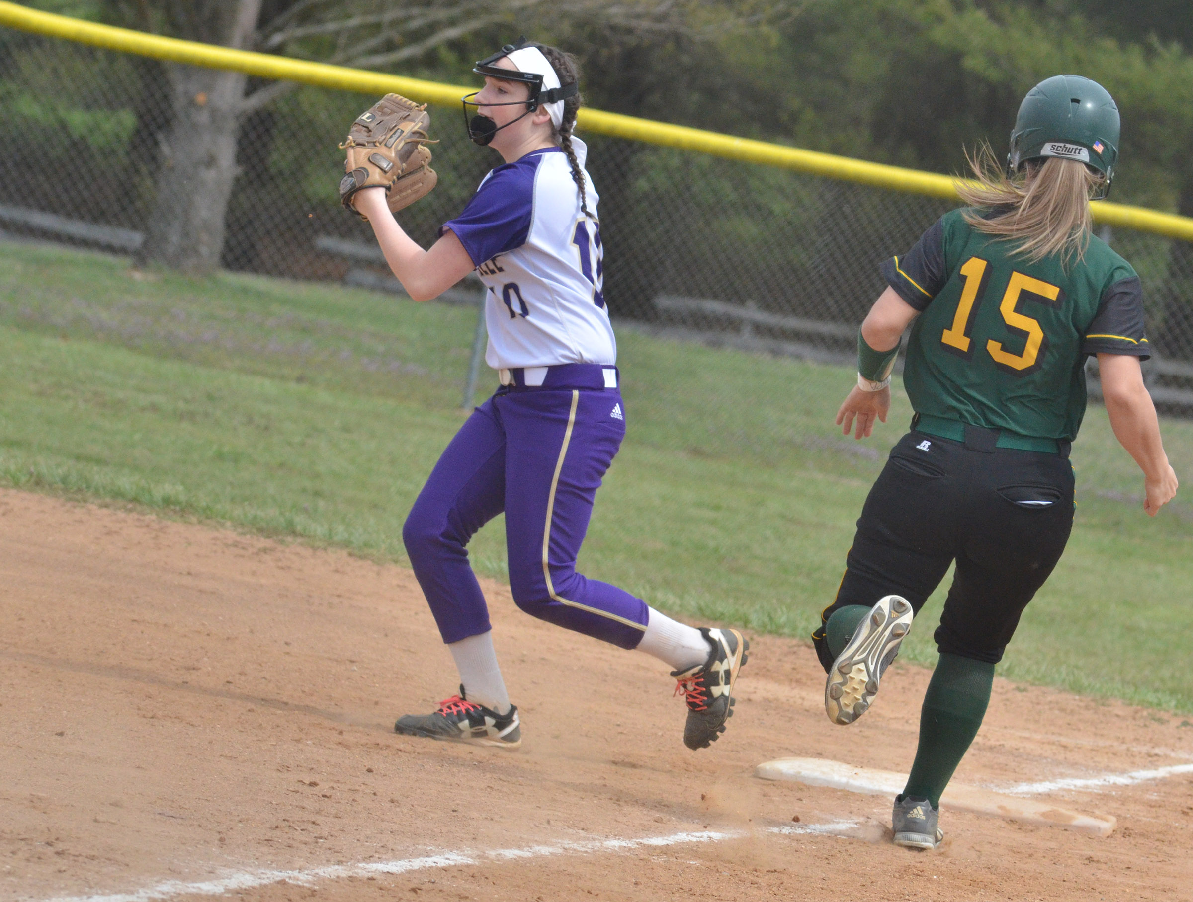CHS freshman Sydney Wilson gets an out at first.