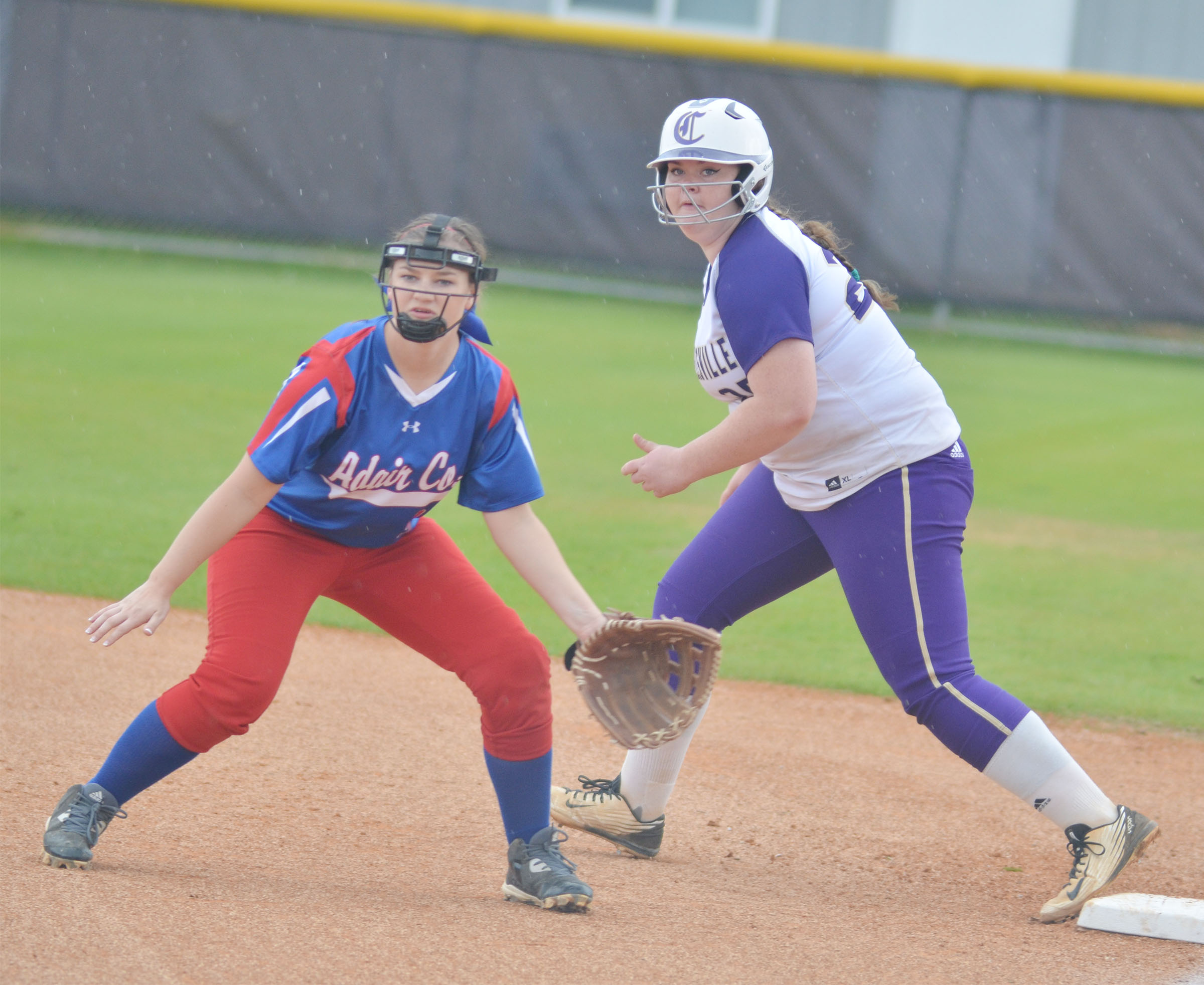 CHS freshman Shallan Philpott looks to go to second.