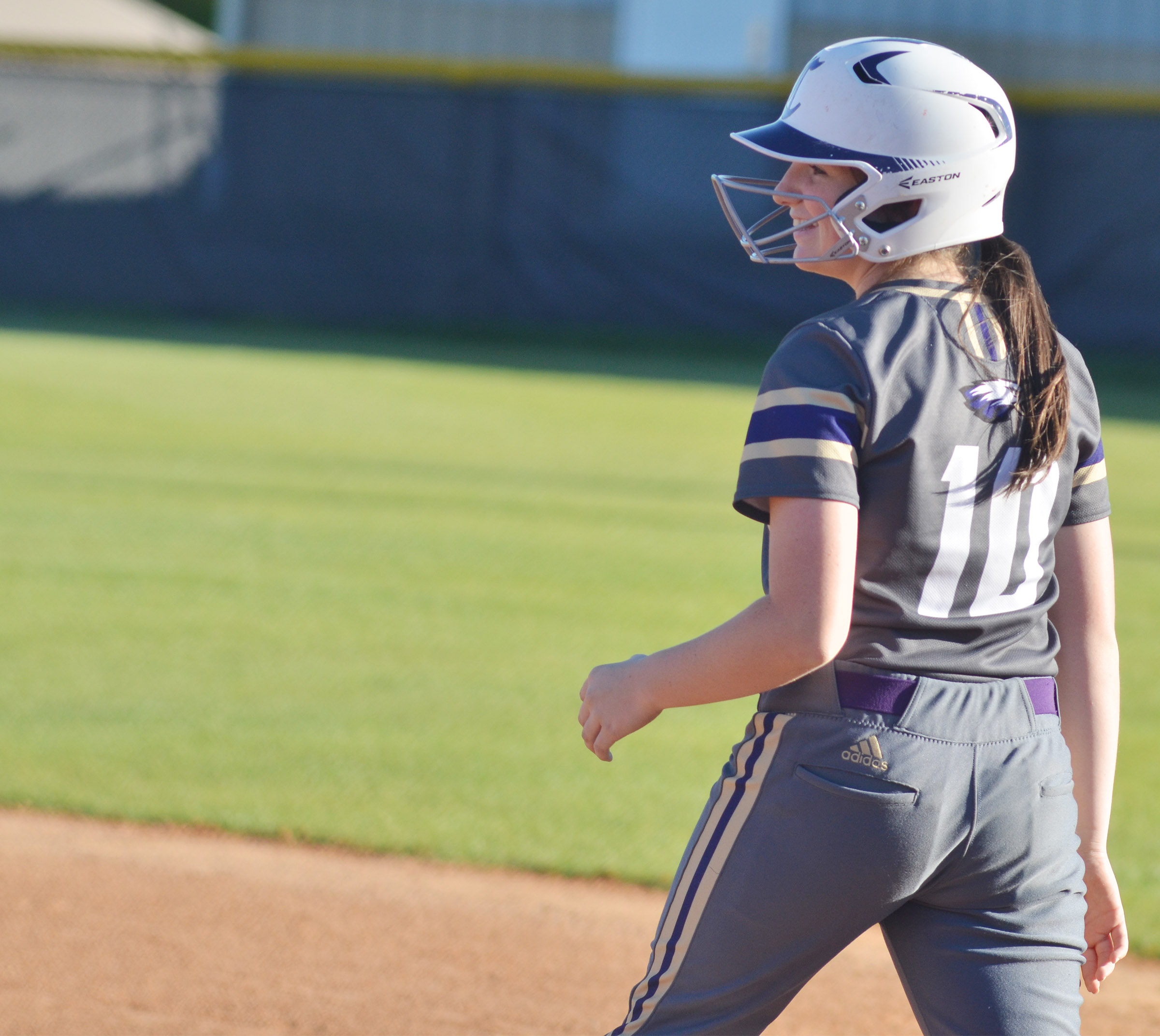 CHS freshman Sydney Wilson smiles after getting a hit.