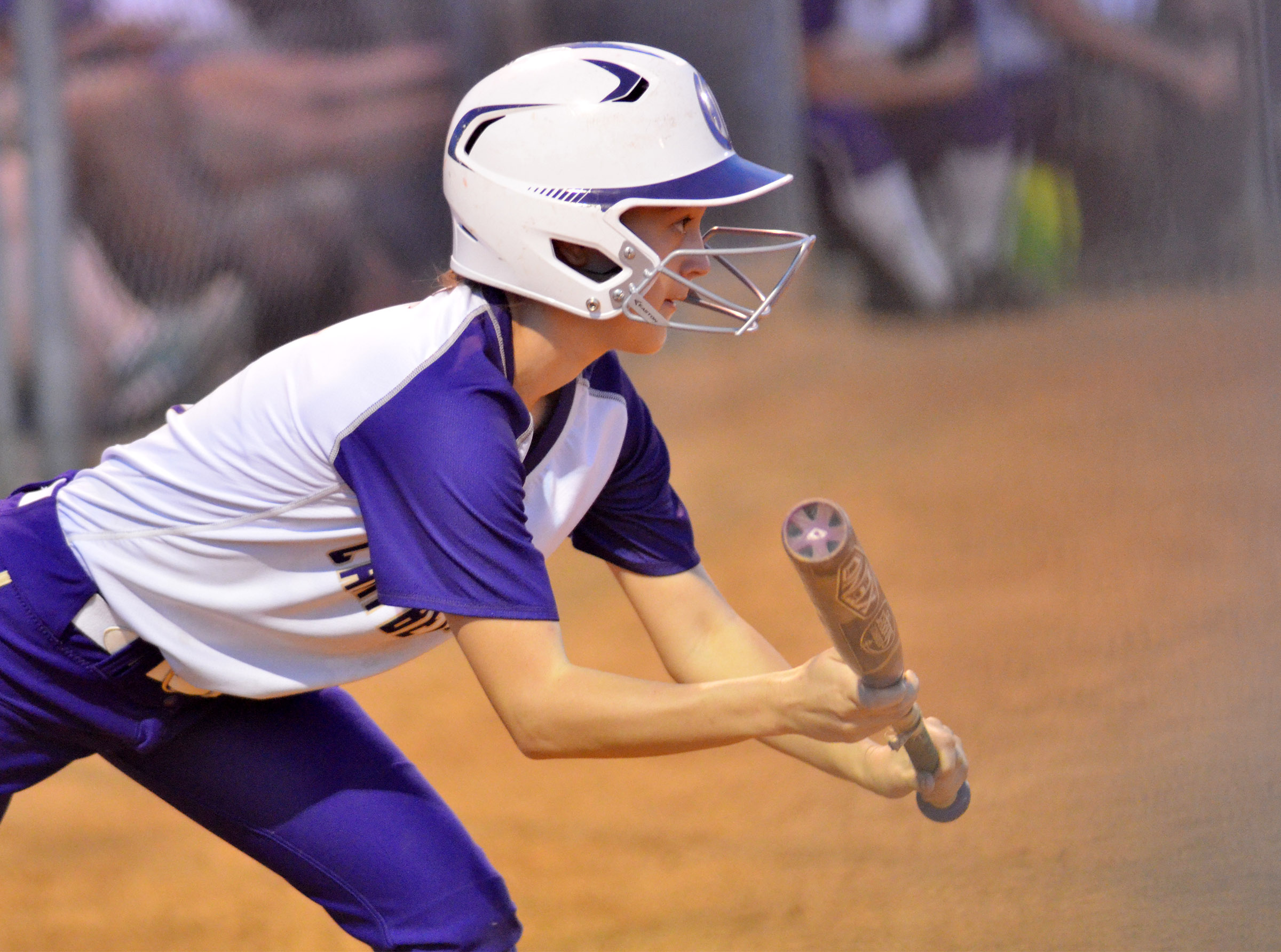 CHS freshman Bailey Thompson bunts.