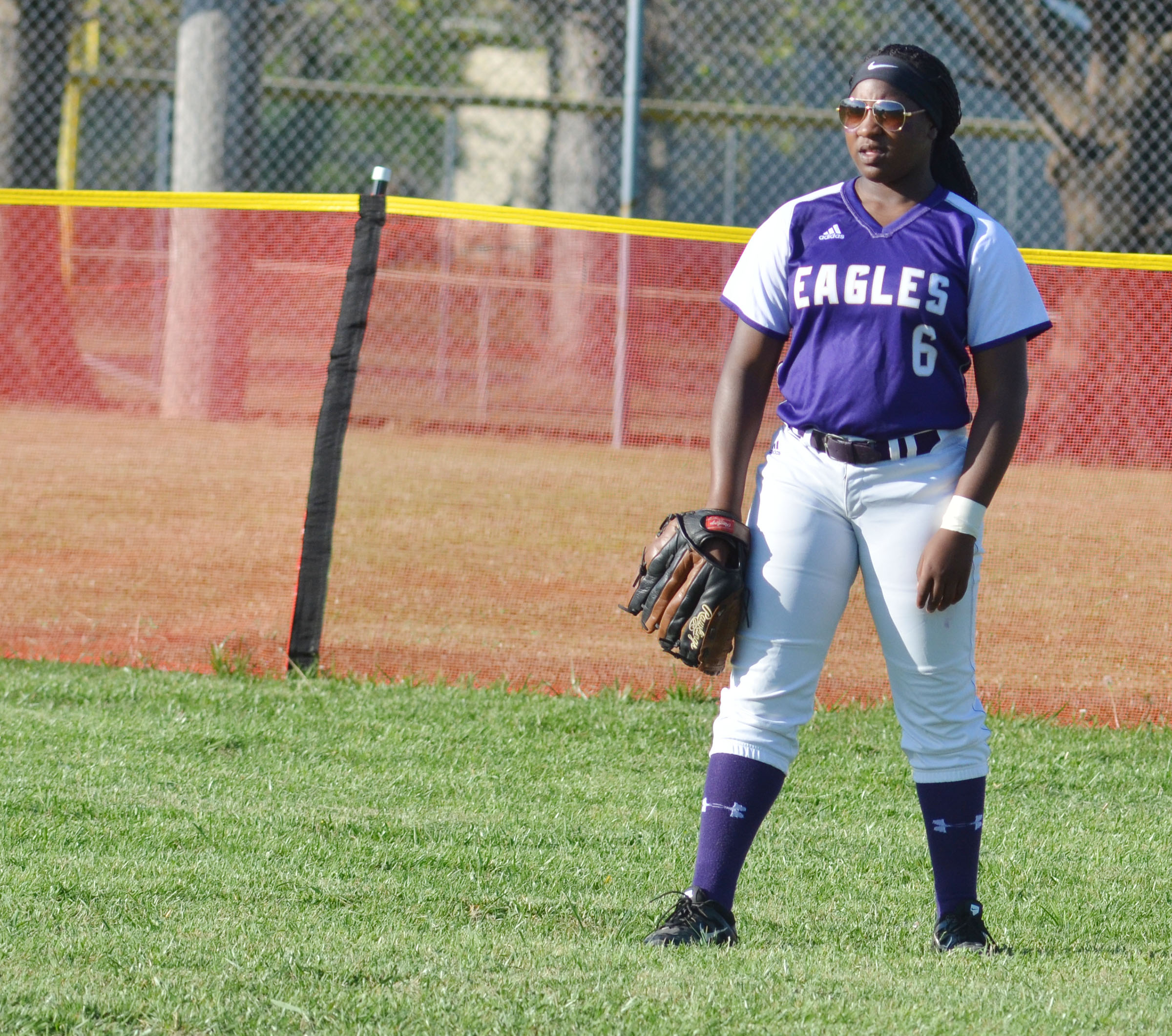 CHS junior Kiyah Barnett plays in the outfield.